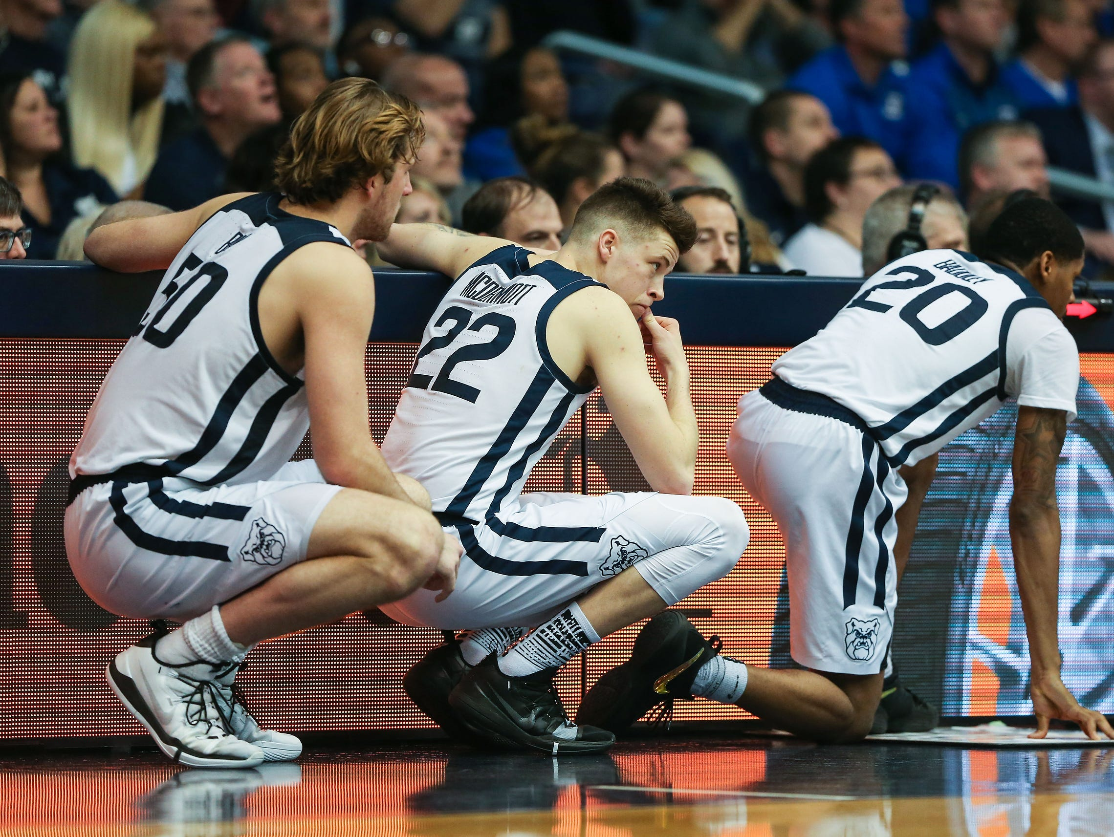 Butler Bulldogs forward Joey Brunk (50)forward Sean McDermott (22) and forward Henry Baddley (20) wait to check in during the second half of game action between Butler University and Creighton University, at Hinkle Fieldhouse in Indianapolis, Indiana on Saturday, Jan. 5, 2019. The Butler Bulldogs defeated the Creighton Bluejays 84-69.