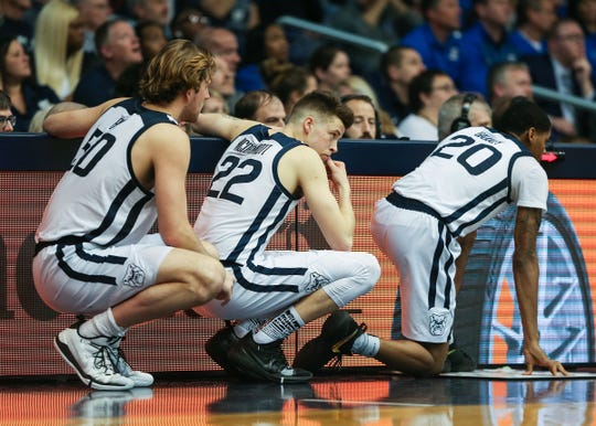 """The Butler Bulldogs are in danger of not making the NCAA tournament this year. Forward Sean McDermott, center, says Butler focused on the immediate future. """"It's the next-game mentality or next-practice mentality for this team."""" At left is Joey Brunk; at right, Henry Baddley."""