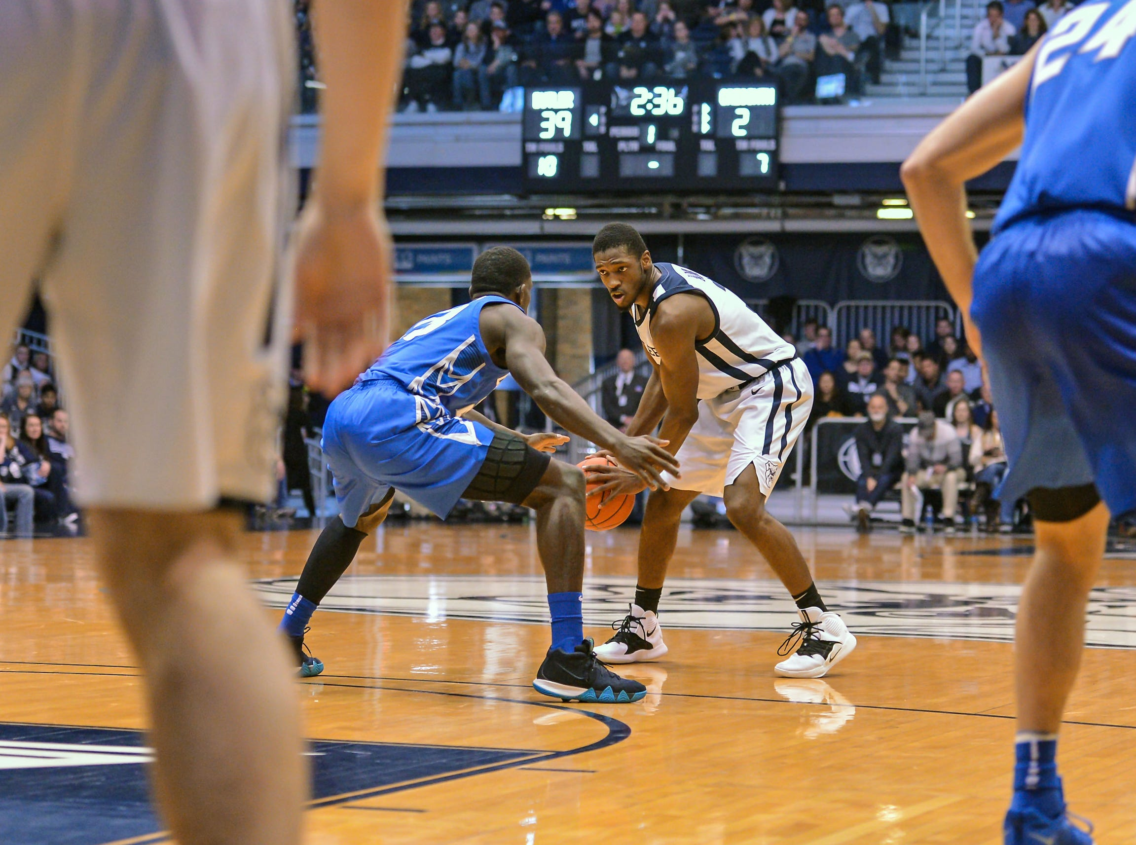 Butler Bulldogs guard Kamar Baldwin (3) runs the floor against the Creighton Bluejays during the first half of game action between Butler University and Creighton University, at Hinkle Fieldhouse in Indianapolis, Indiana on Saturday, Jan. 5, 2019.