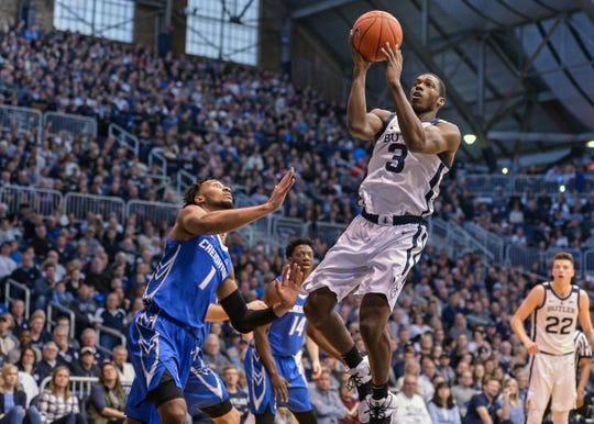 Butler Bulldogs guard Kamar Baldwin (3) attacks the hoop against the Creighton Bluejays during the first half of game action between Butler University and Creighton University, at Hinkle Fieldhouse in Indianapolis, Indiana on Saturday, Jan. 5, 2019.