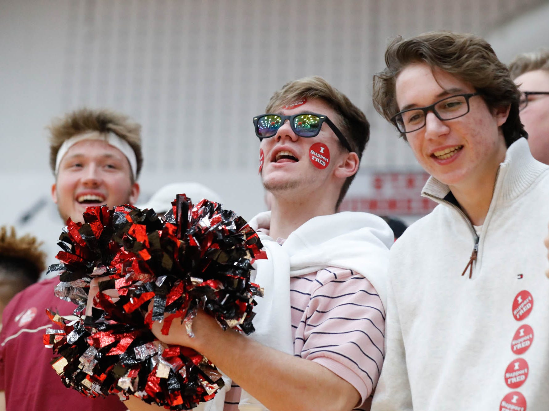 Center Grove students cheer on their team during a game between Center Grove High School and Carmel High School, held at Center Grove on on Friday, Jan. 4, 2019.
