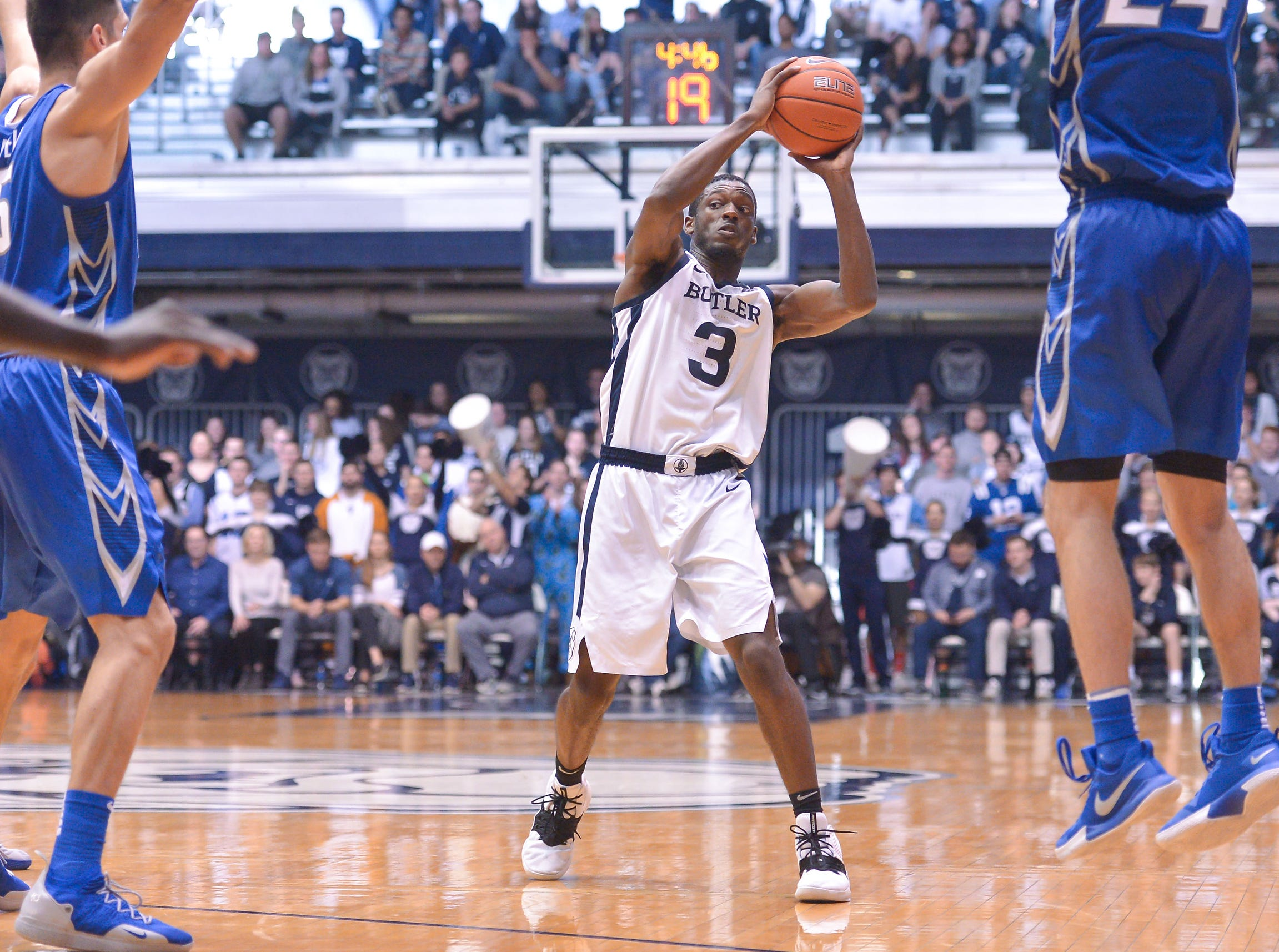 Butler Bulldogs guard Kamar Baldwin (3) looks for an outlet against Creighton Bluejays defense during the second half of game action between Butler University and Creighton University, at Hinkle Fieldhouse in Indianapolis, Indiana on Saturday, Jan. 5, 2019. The Butler Bulldogs defeated the Creighton Bluejays 84-69.