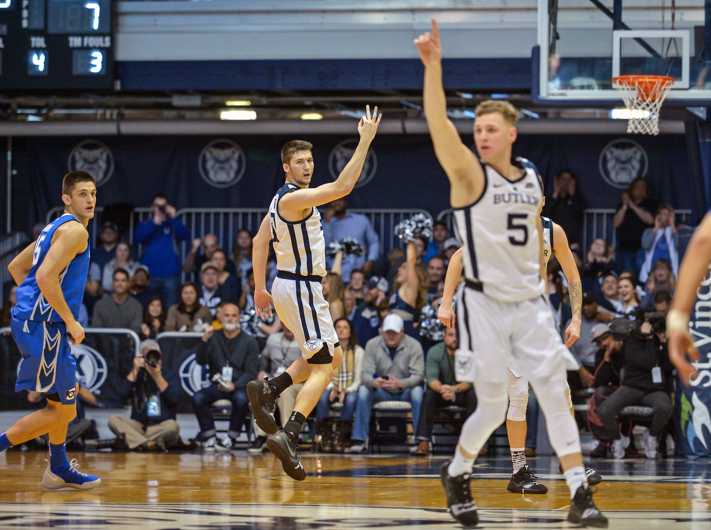 Butler Bulldogs forward Nate Fowler (51) celebrates a three-pointer against the Creighton Bluejays during the first half of game action between Butler University and Creighton University, at Hinkle Fieldhouse in Indianapolis, Indiana on Saturday, Jan. 5, 2019.