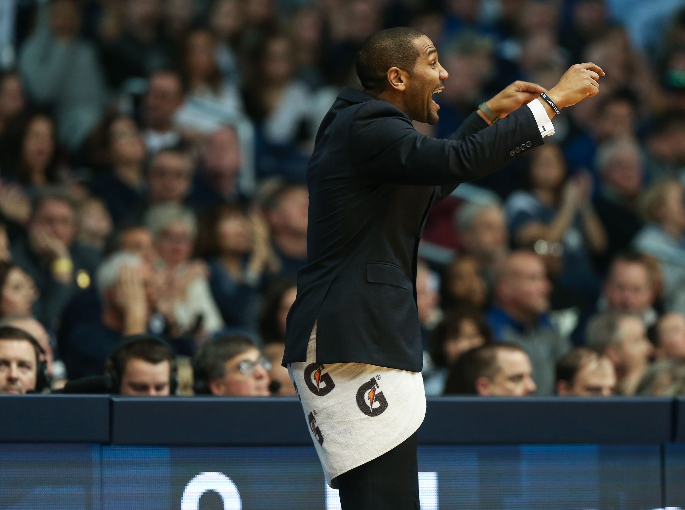 Butler Bulldogs head coach LaVall Jordan during the second half of game action between Butler University and Creighton University, at Hinkle Fieldhouse in Indianapolis, Indiana on Saturday, Jan. 5, 2019. The Butler Bulldogs defeated the Creighton Bluejays 84-69.