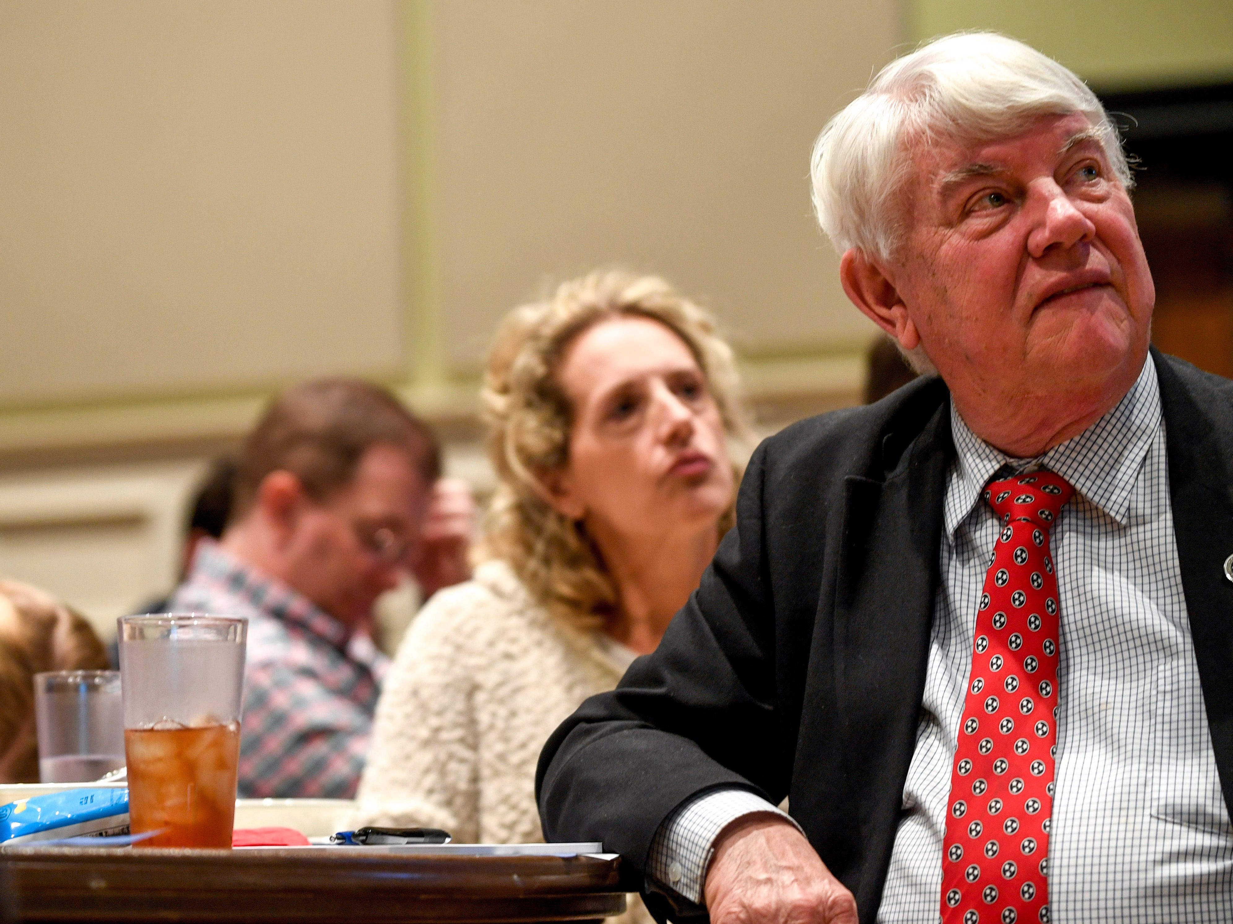 Mayoral candidate Jimmy Eldridge listens to speakers during the monthly First Friday Forum at First United Methodist Church in Jackson, Tenn., on Friday, Jan. 4, 2019.