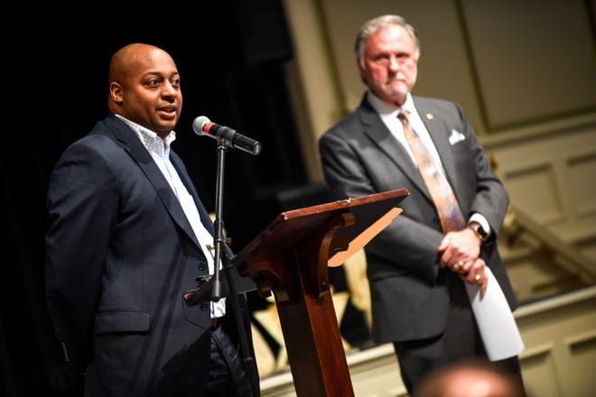 JMCSS superintendent Dr Eric Jones speaks to guests at the podium during the monthly First Friday Forum at First United Methodist Church in Jackson, Tenn., on Friday, Jan. 4, 2019.