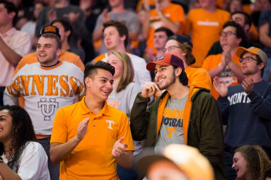 Tennessee fans celebrate during a college basketball game between Tennessee and Georgia at Thompson-Boling Arena Saturday, Jan. 5, 2019. Tennessee defeated Georgia 96-50.