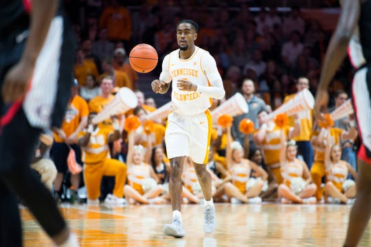 Tennessee's Jordan Bone (0) brings the ball down the court during a college basketball game between Tennessee and Georgia at Thompson-Boling Arena Saturday, Jan. 5, 2019.