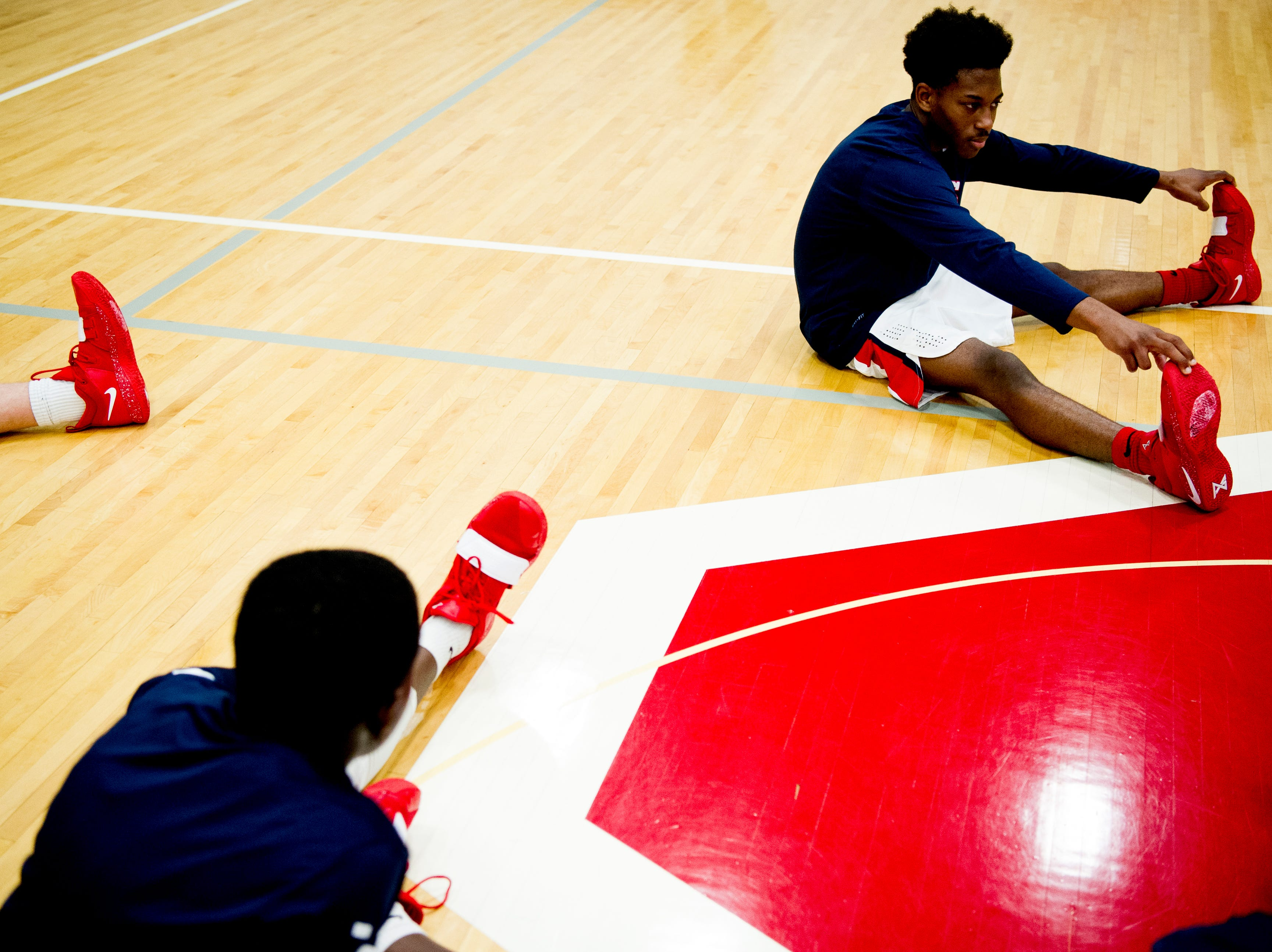 West players stretch during a game between West and Webb at West High School in Knoxville, Tennessee on Friday, January 4, 2019.