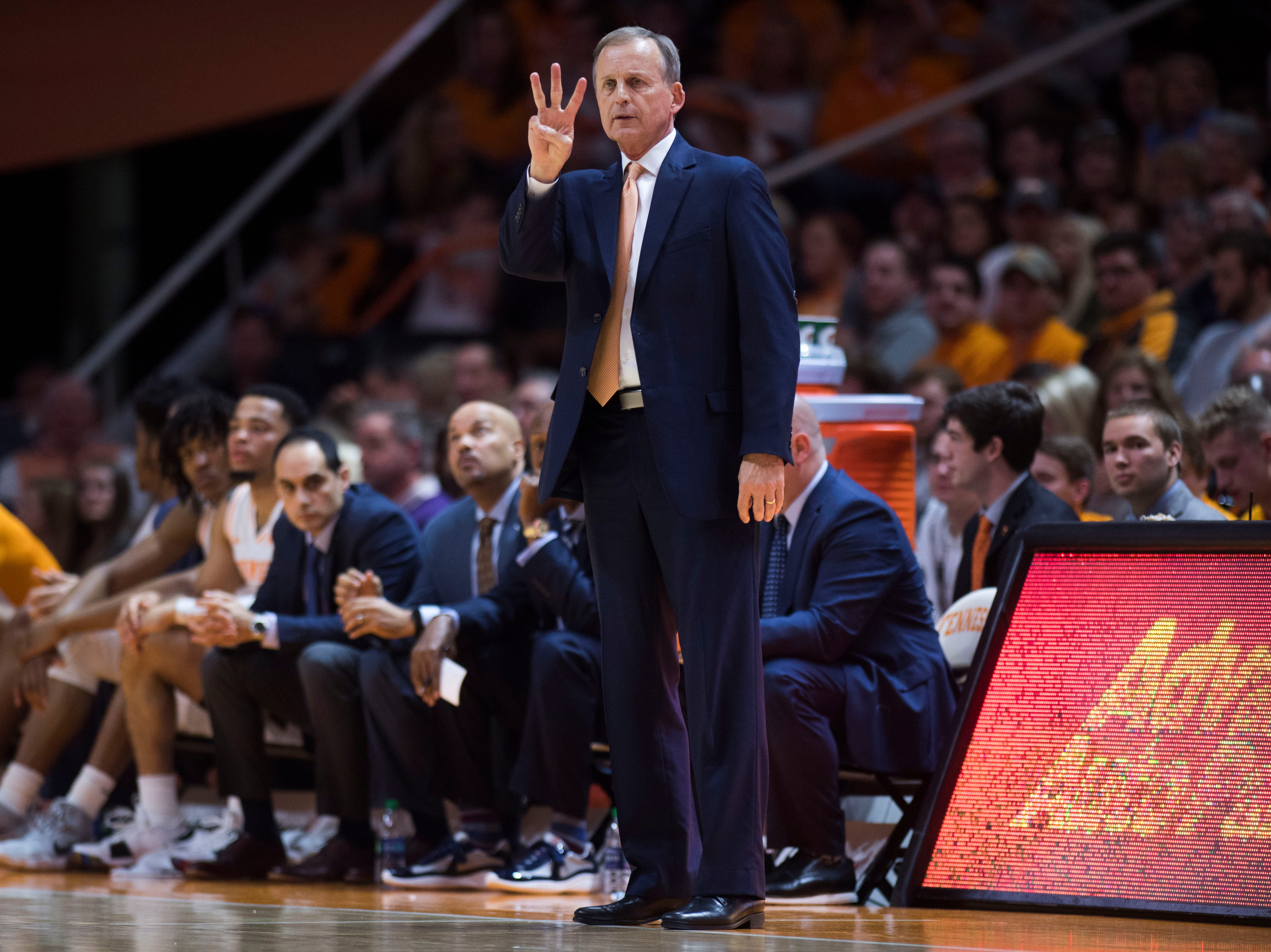 Tennessee head coach Rick Barnes yells from the sidelines during a college basketball game between Tennessee and Georgia at Thompson-Boling Arena Saturday, Jan. 5, 2019.