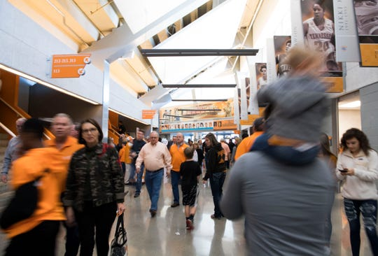 Fans fill the breezeways before a college basketball game between Tennessee and Georgia at Thompson-Boling Arena Saturday, Jan. 5, 2019.