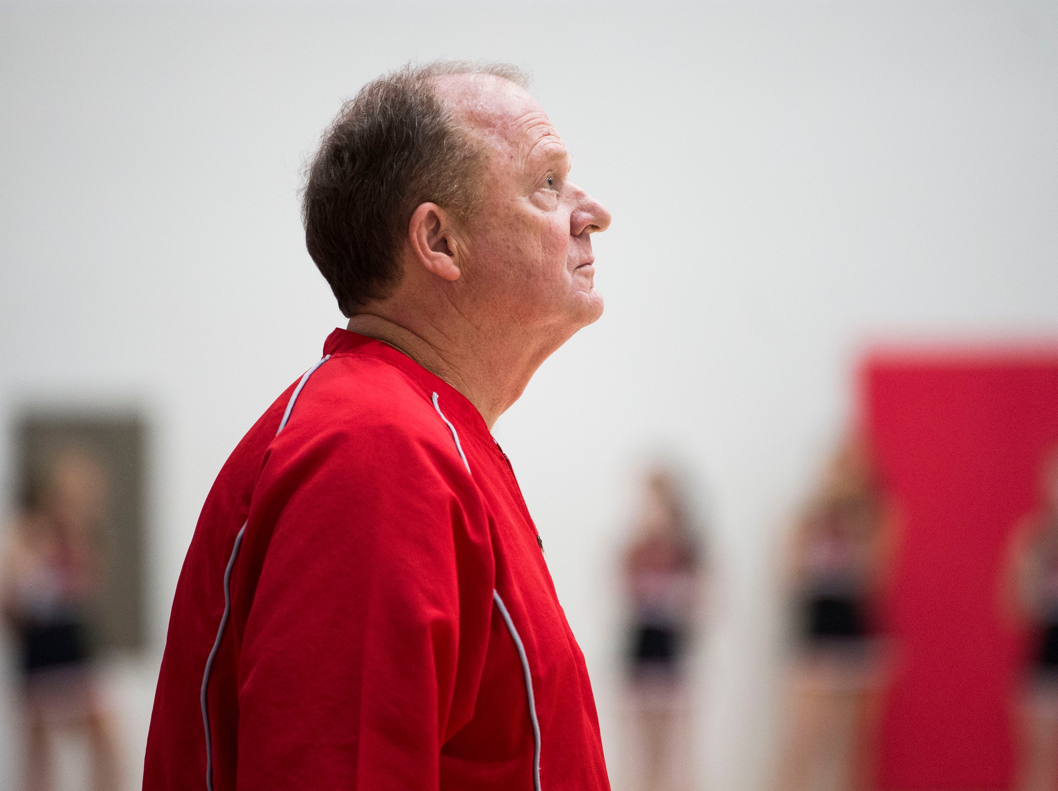 Heritage boys basketball coach Dennis Godfrey looks towards the court ===during a high school basketball game between Maryville and Heritage at Heritage Friday, Jan. 4, 2019. Both Maryville boys and girls teams beat Heritage.
