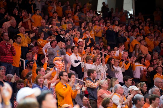 Fans fill the arena during a college basketball game between Tennessee and Georgia at Thompson-Boling Arena Saturday, Jan. 5, 2019.