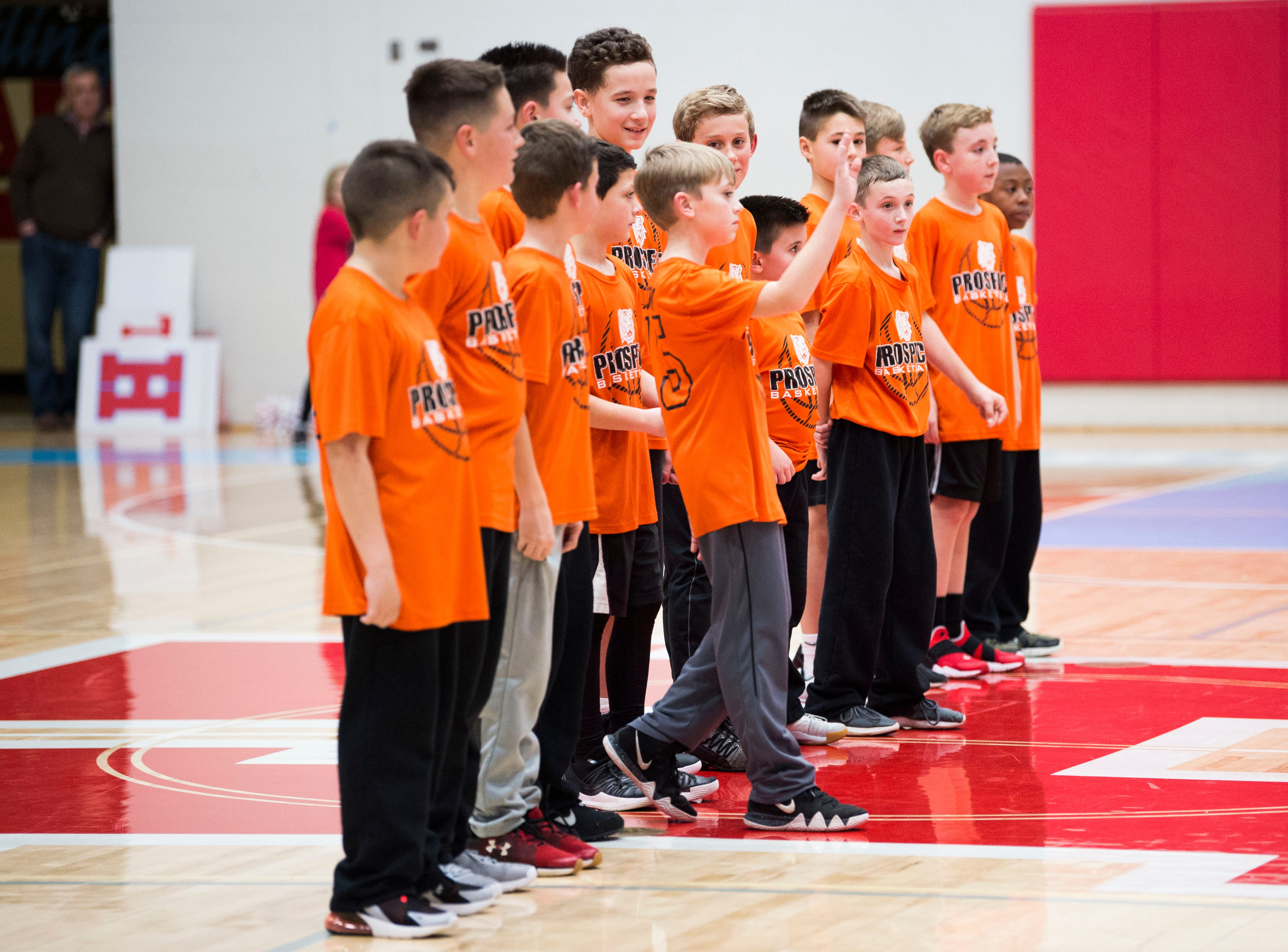 Youth basketball team Prospect is recognized at half time during a high school basketball game between Maryville and Heritage at Heritage Friday, Jan. 4, 2019. Both Maryville boys and girls teams beat Heritage.
