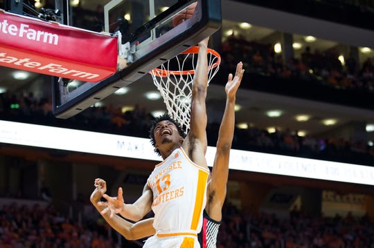 Tennessee's Jalen Johnson (13) tales a shot during a college basketball game between Tennessee and Georgia at Thompson-Boling Arena Saturday, Jan. 5, 2019. Tennessee defeated Georgia 96-50.