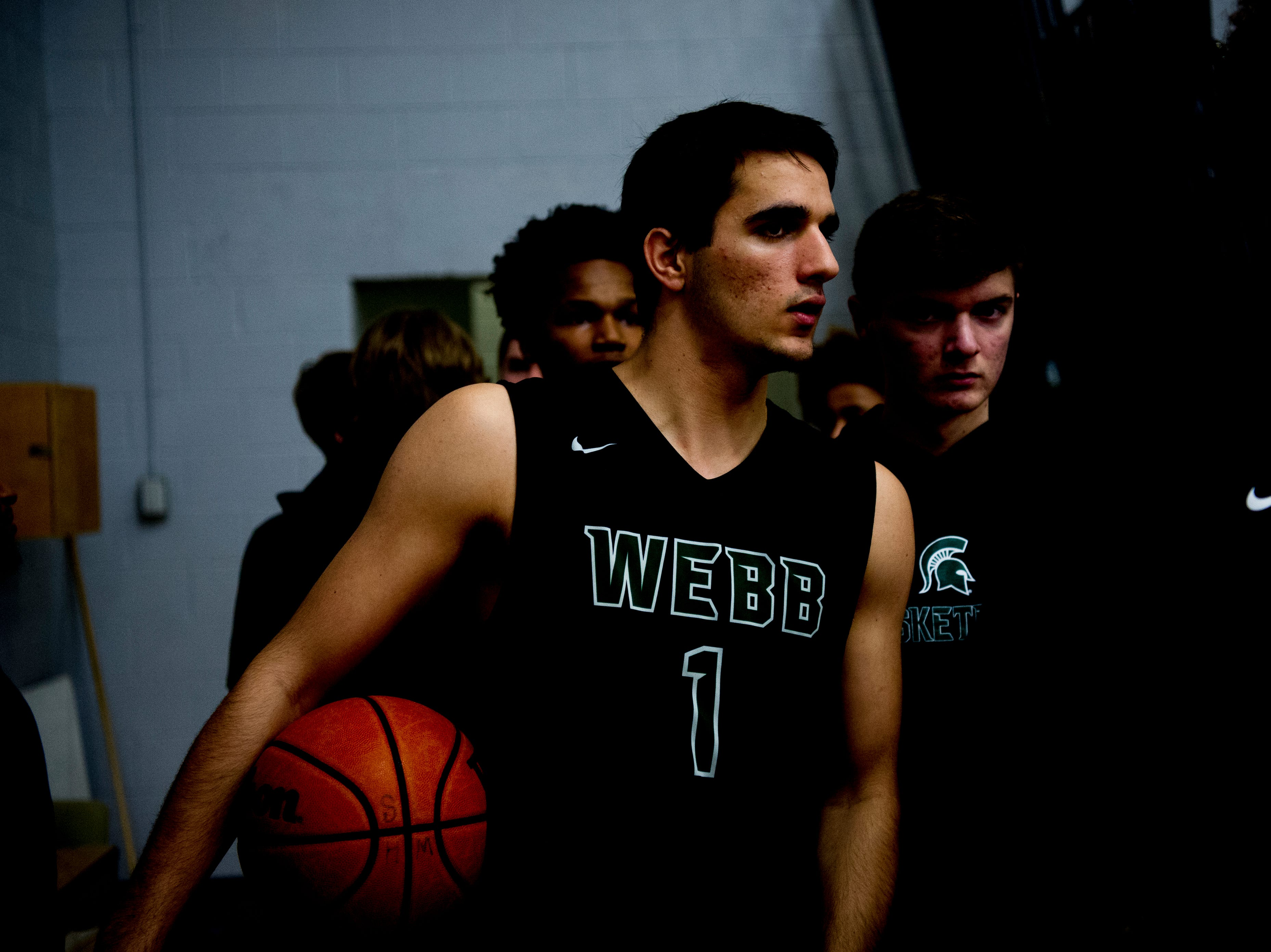 Webb's Uriah Powers (1) takes the court from the locker room during a game between West and Webb at West High School in Knoxville, Tennessee on Friday, January 4, 2019.