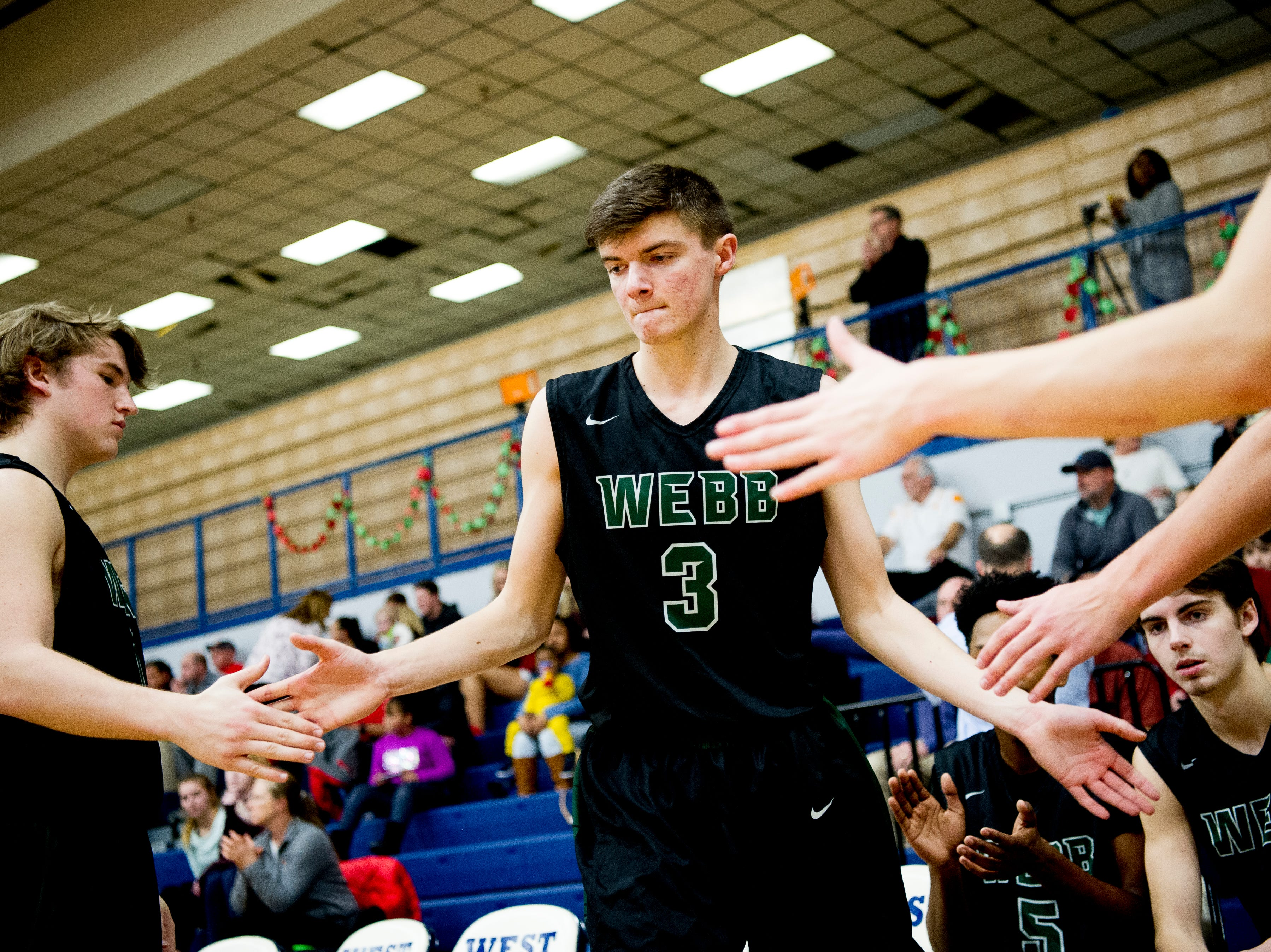 Webb's Luke Burnett (3) is introduced during a game between West and Webb at West High School in Knoxville, Tennessee on Friday, January 4, 2019.