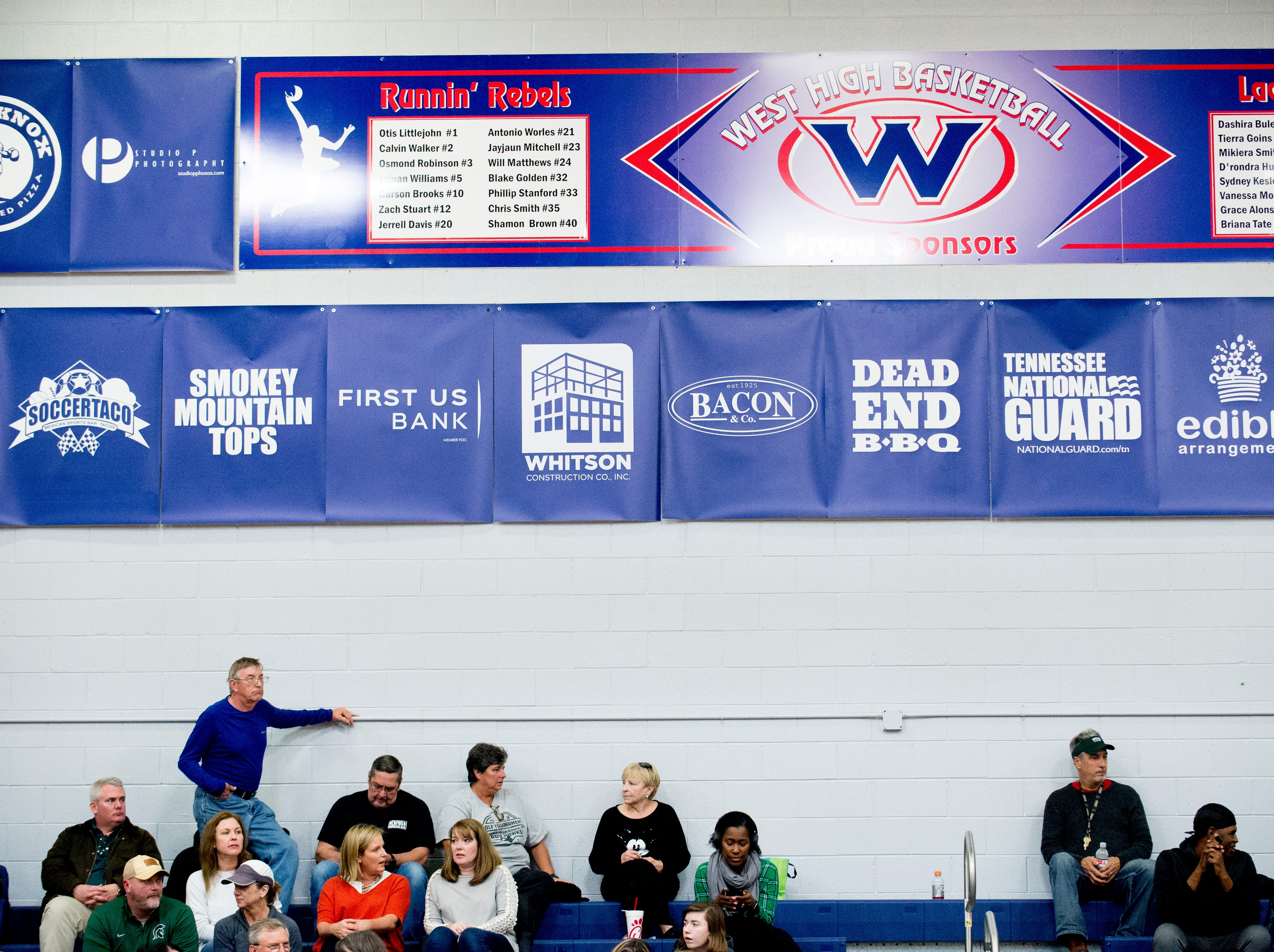Fans watch the game from the bleachers during a game between West and Webb at West High School in Knoxville, Tennessee on Friday, January 4, 2019.