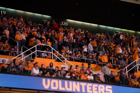 Tennessee fans watch during a college basketball game between Tennessee and Georgia at Thompson-Boling Arena Saturday, Jan. 5, 2019.