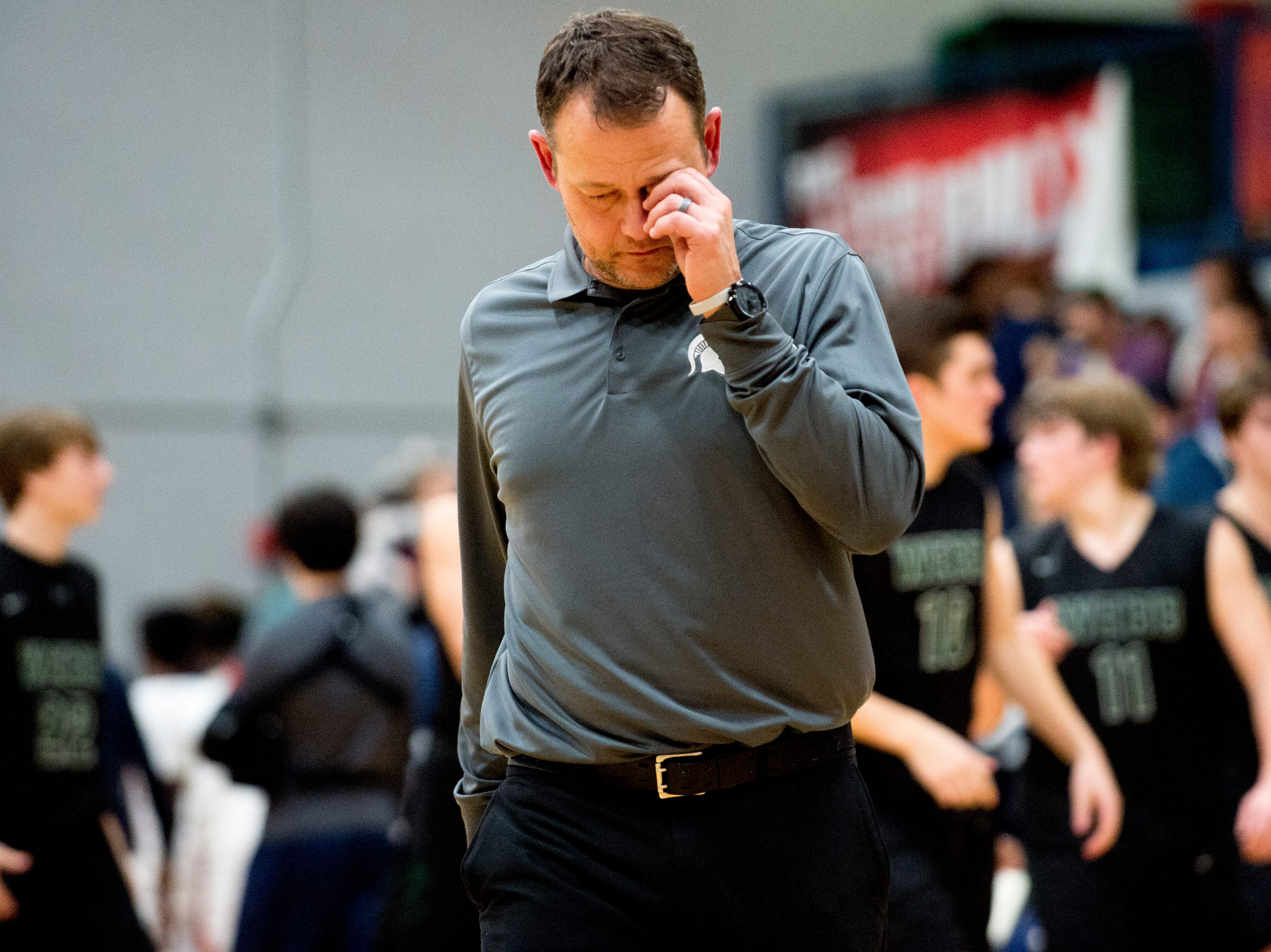 Webb Head Coach Ricky Norris walks off the court at the end of the game during a game between West and Webb at West High School in Knoxville, Tennessee on Friday, January 4, 2019.