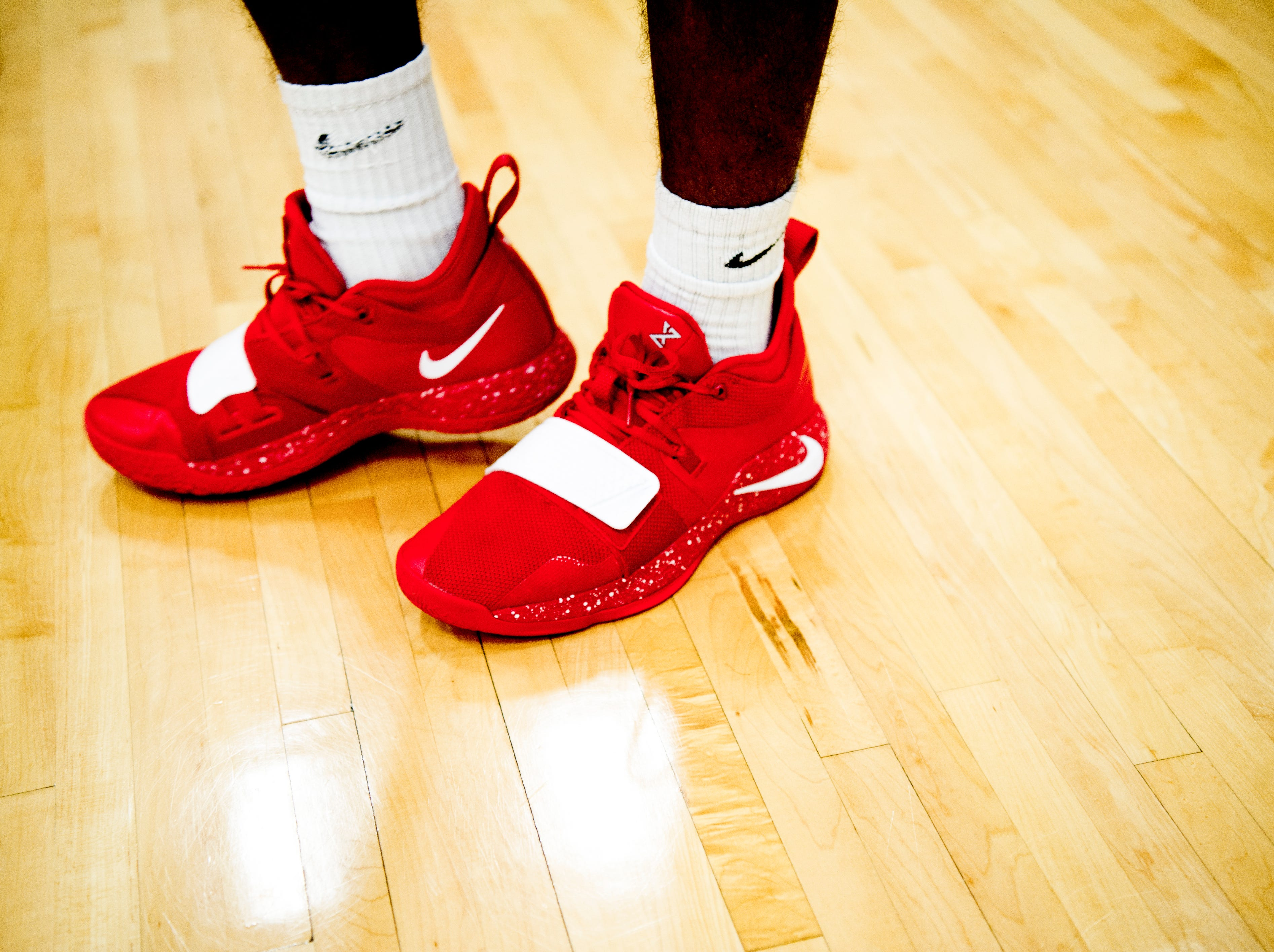 West players sport hot red sneakers during a game between West and Webb at West High School in Knoxville, Tennessee on Friday, January 4, 2019.