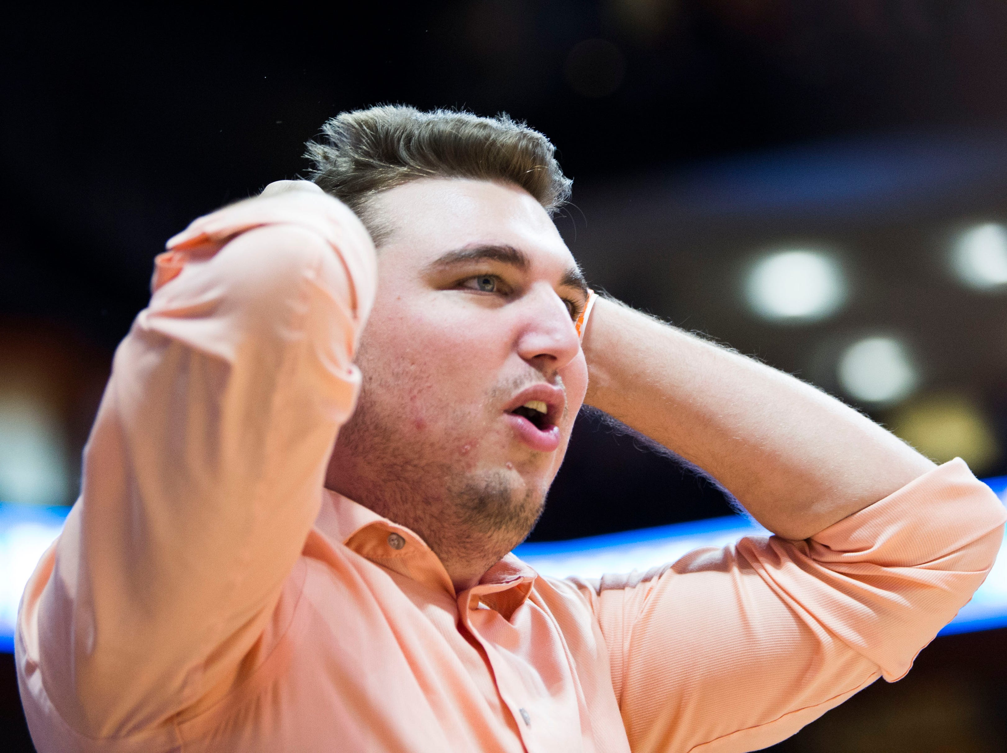 A fan reacts to a call during a college basketball game between Tennessee and Georgia at Thompson-Boling Arena Saturday, Jan. 5, 2019. Tennessee defeated Georgia 96-50.