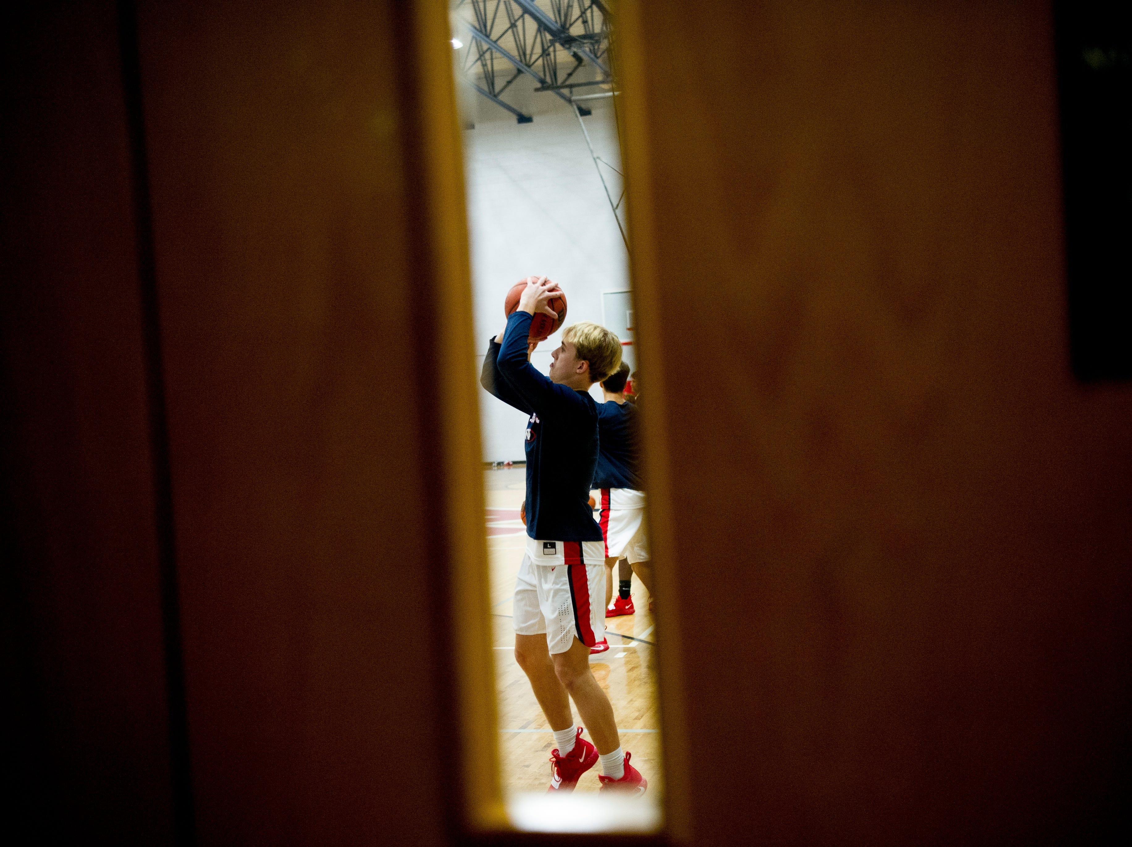 West players warm up during a game between West and Webb at West High School in Knoxville, Tennessee on Friday, January 4, 2019.