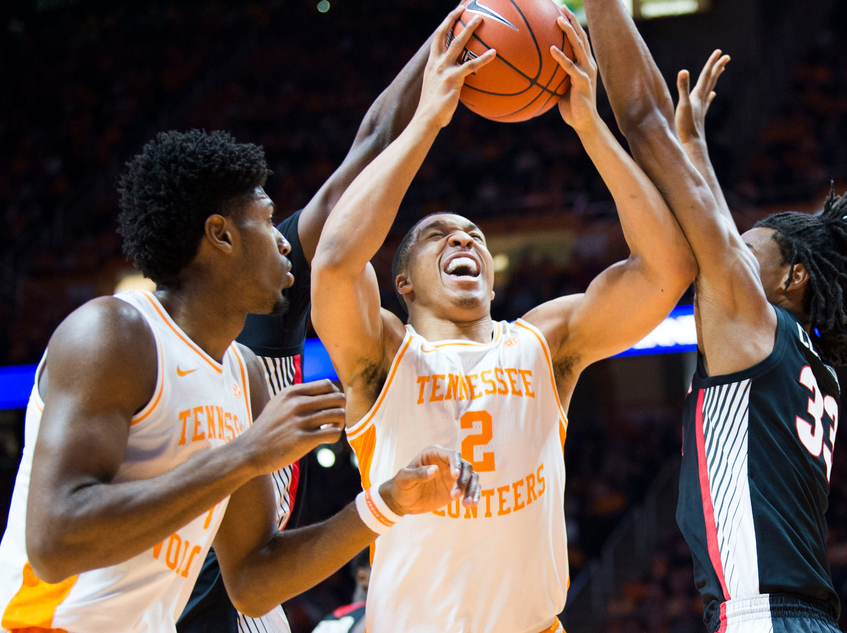 Tennessee's Grant Williams (2) takes a shot during a college basketball game between Tennessee and Georgia at Thompson-Boling Arena Saturday, Jan. 5, 2019.