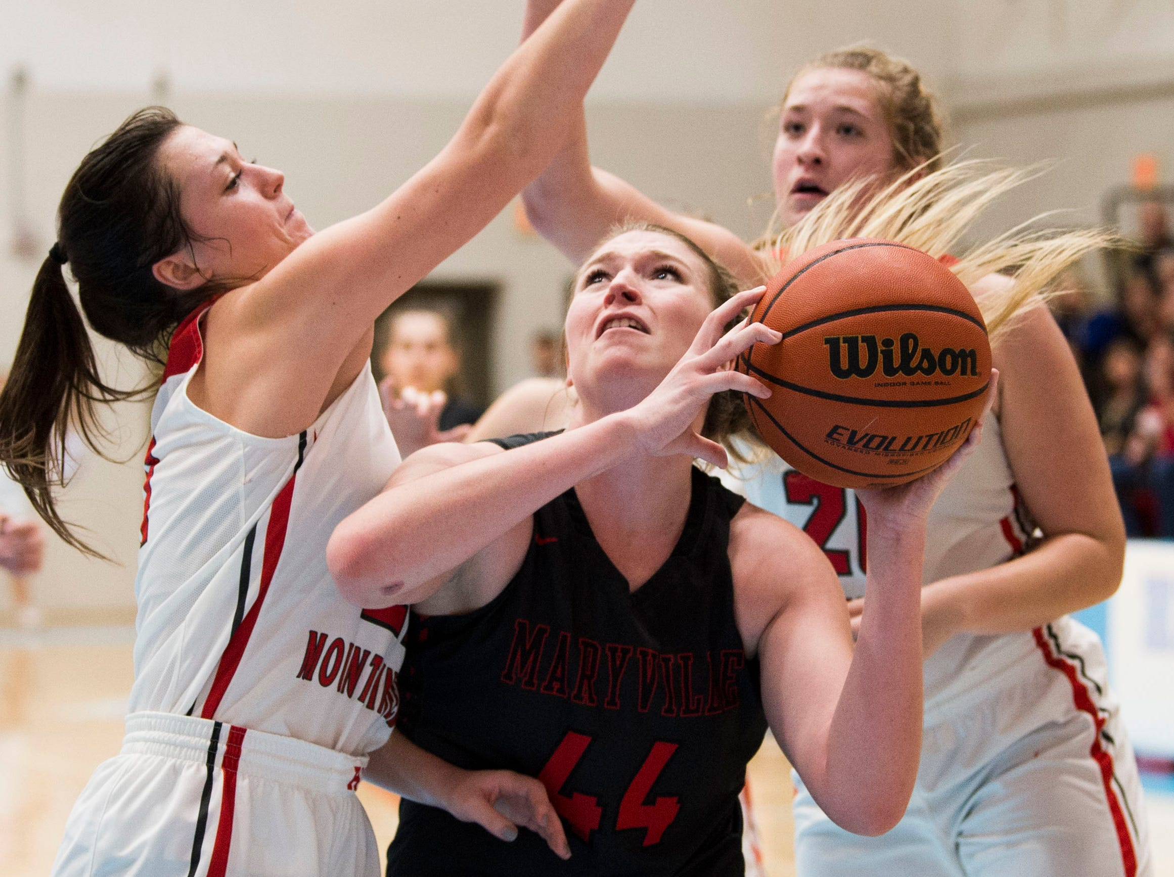 Maryville's Lindsey Taylor (44) attempts a shot during a high school basketball game between Maryville and Heritage at Heritage Friday, Jan. 4, 2019. Both Maryville boys and girls teams beat Heritage.