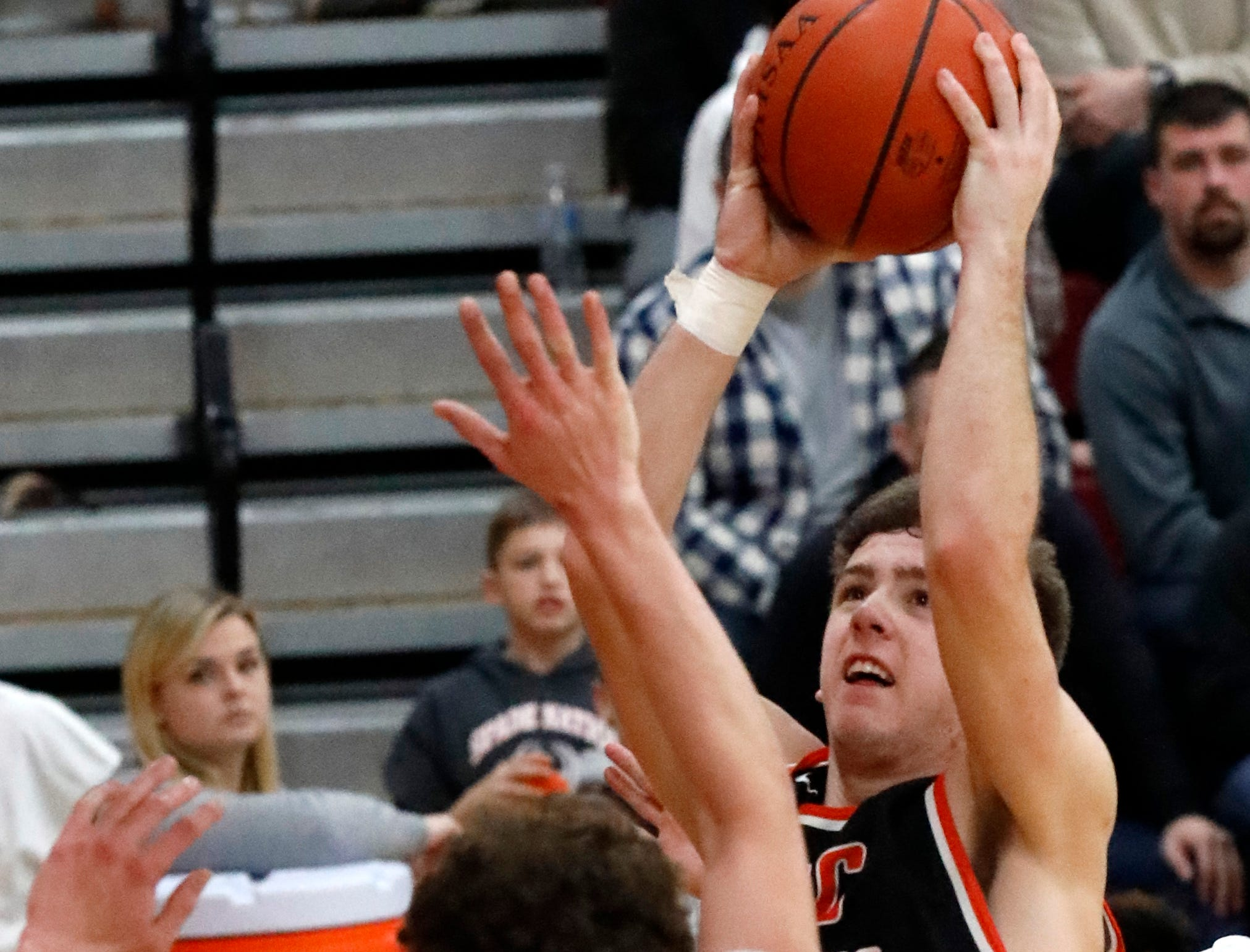 Amanda-Clearcreek's Will Riffle takes a shot during Friday night's game, Jan. 4, 2019, against Fairfield Union at Fairfield Union High School in Rushville. The Falcons defeated the Aces 54-49.
