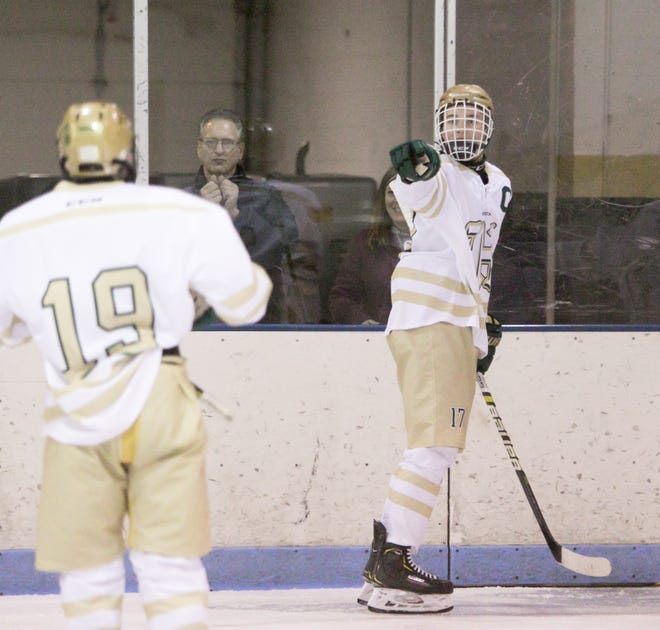 Howell's Josh Farr (right) scored the overtime winner in a 5-4 victory over Ann Arbor Skyline.