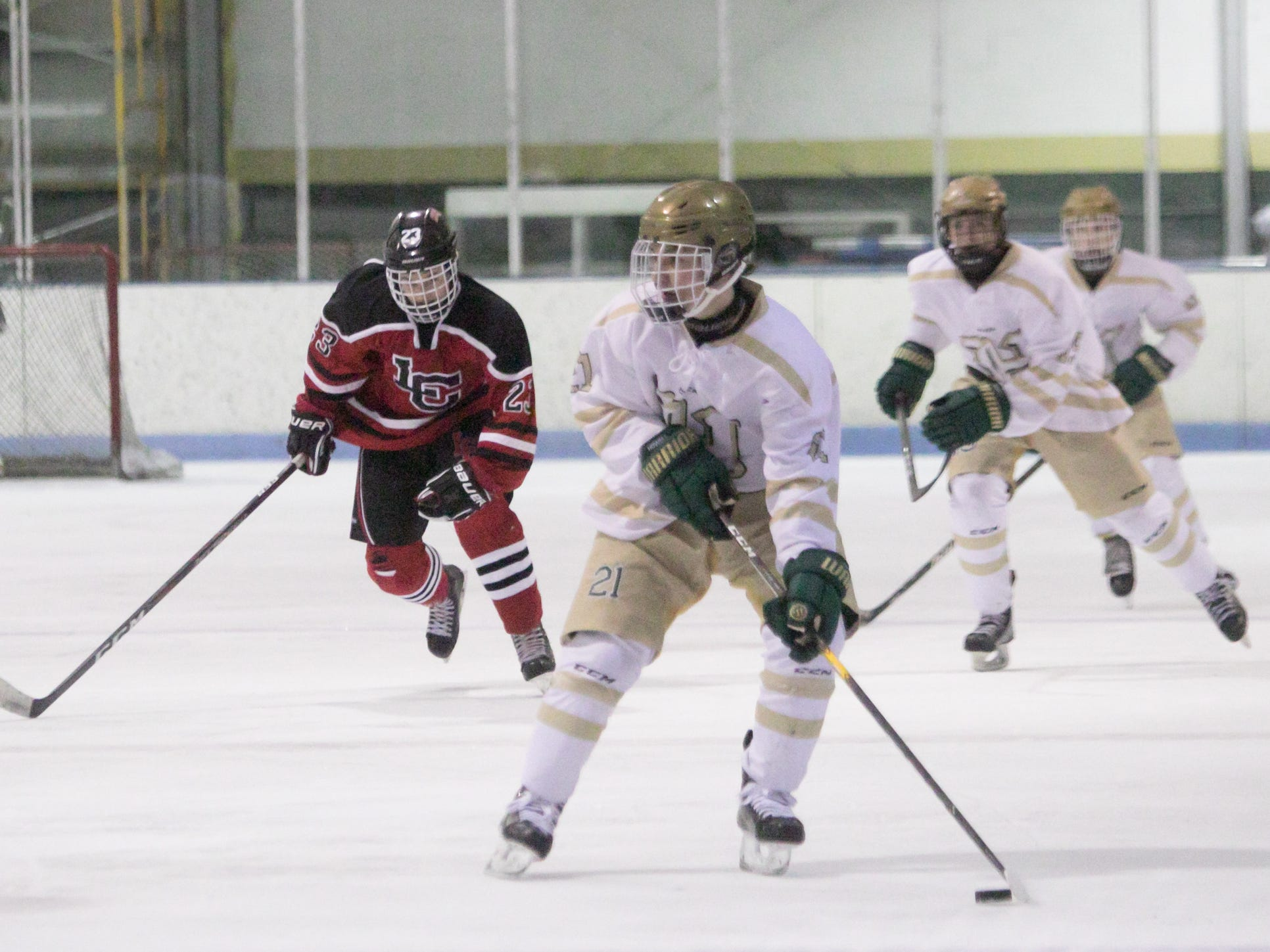 Graham Hassan of Howell scored three goals in a 6-3 victory over Livonia Churchill on Friday, Jan. 4, 2019 at Grand Oaks Ice Arena.