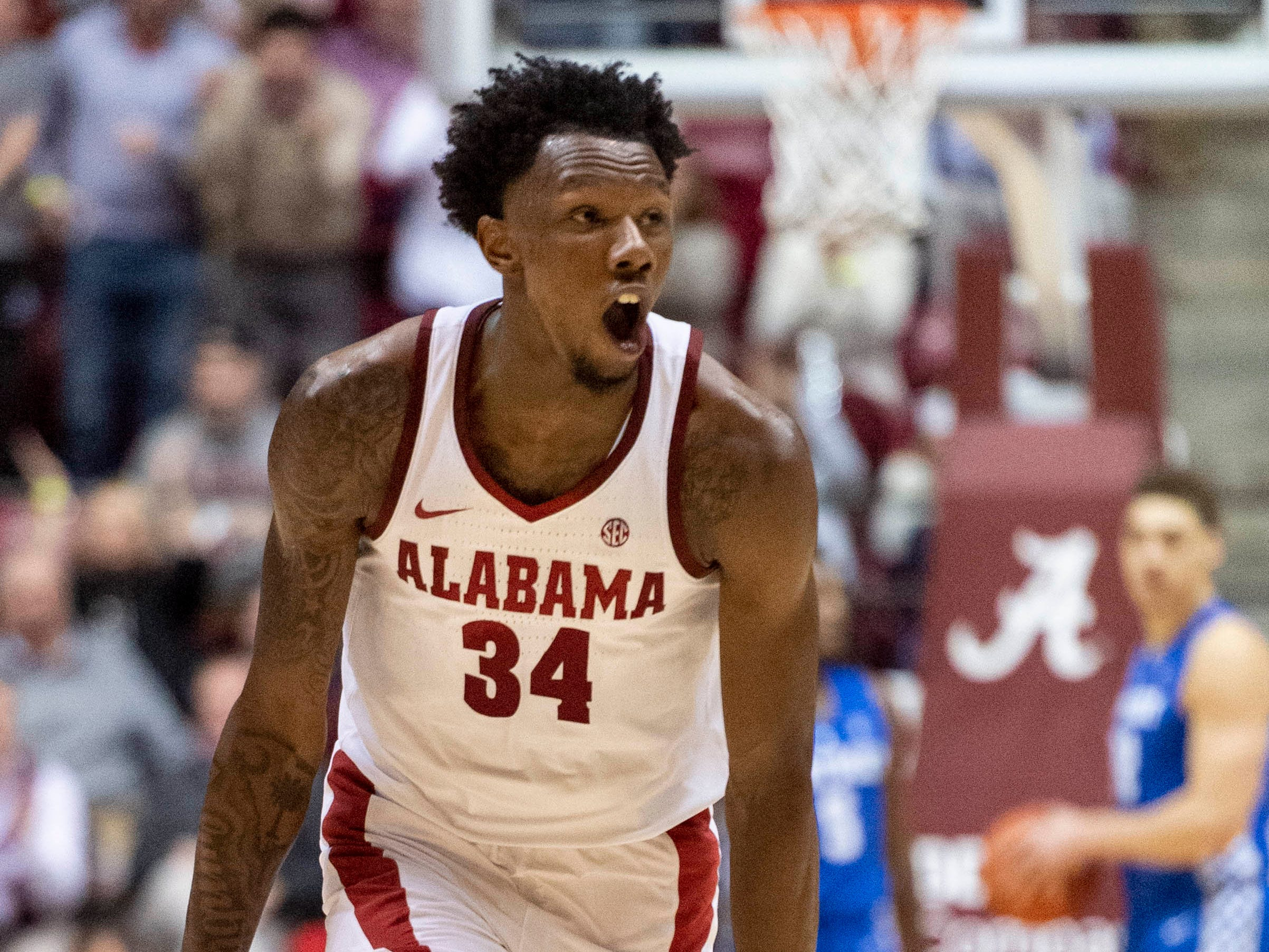 Alabama guard/forward Tevin Mack (34) Cele celebrates a three-pointer against Kentucky during the first half of an NCAA college basketball game, Saturday, Jan. 5, 2019, in Tuscaloosa, Ala.