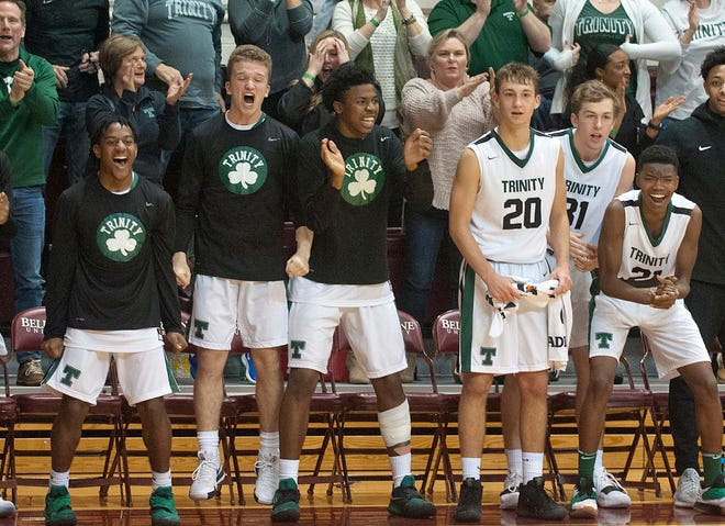 Behind in the last minute and a half of play, Trinity comes from behind to take the lead and the Trinity bench reacts.04 January 2019