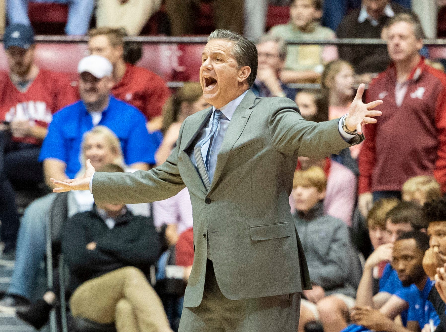 Kentucky head coach John Calipari disputes a call during the first half of an NCAA college basketball game against Alabama, Saturday, Jan. 5, 2019, in Tuscaloosa, Ala.