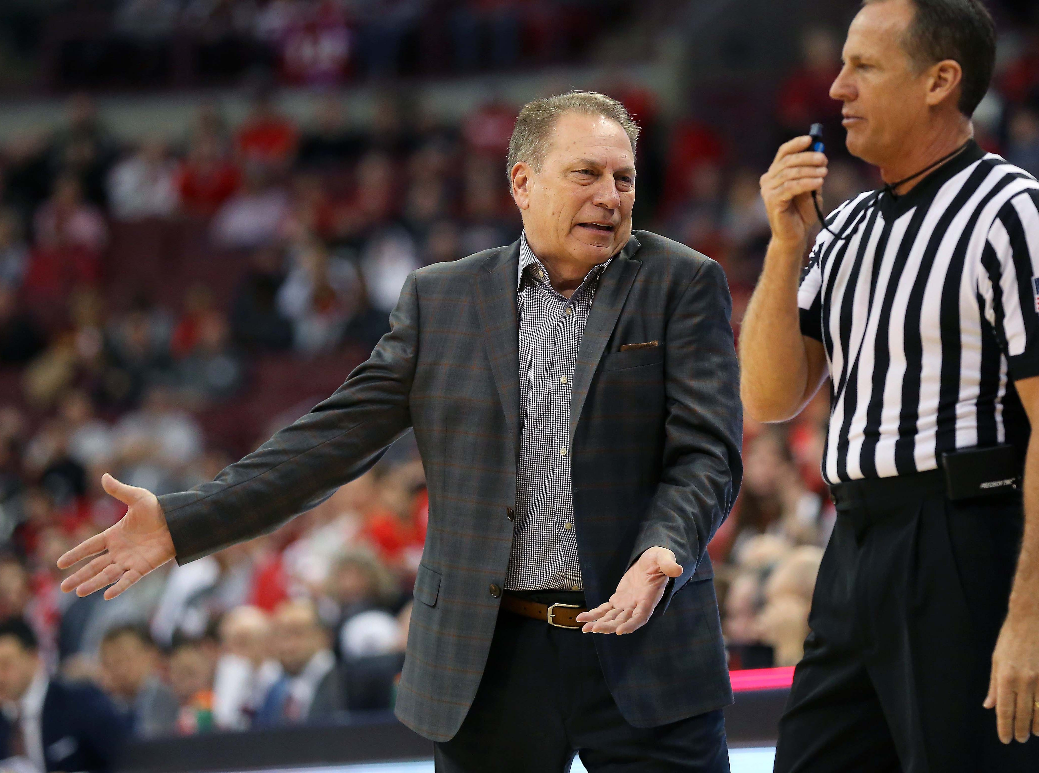 Jan 5, 2019; Columbus, OH, USA; Michigan State Spartans head coach Tom Izzo during the first half against the Ohio State Buckeyes at Value City Arena. Mandatory Credit: Joe Maiorana-USA TODAY Sports