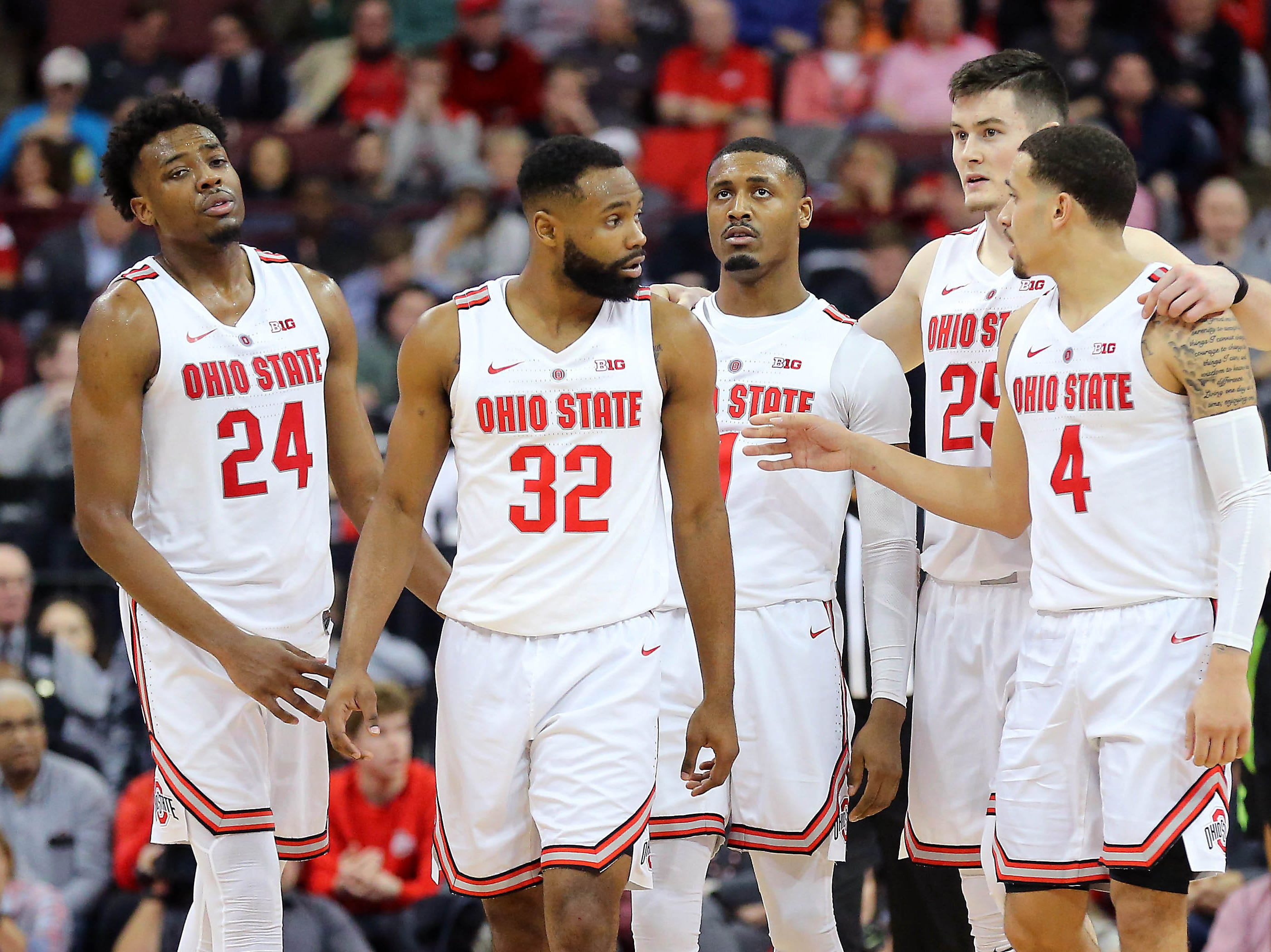 Jan 5, 2019; Columbus, OH, USA; The Ohio State Buckeyes gather as the game begins to slip away during the second half against the Michigan State Spartans at Value City Arena. Mandatory Credit: Joe Maiorana-USA TODAY Sports