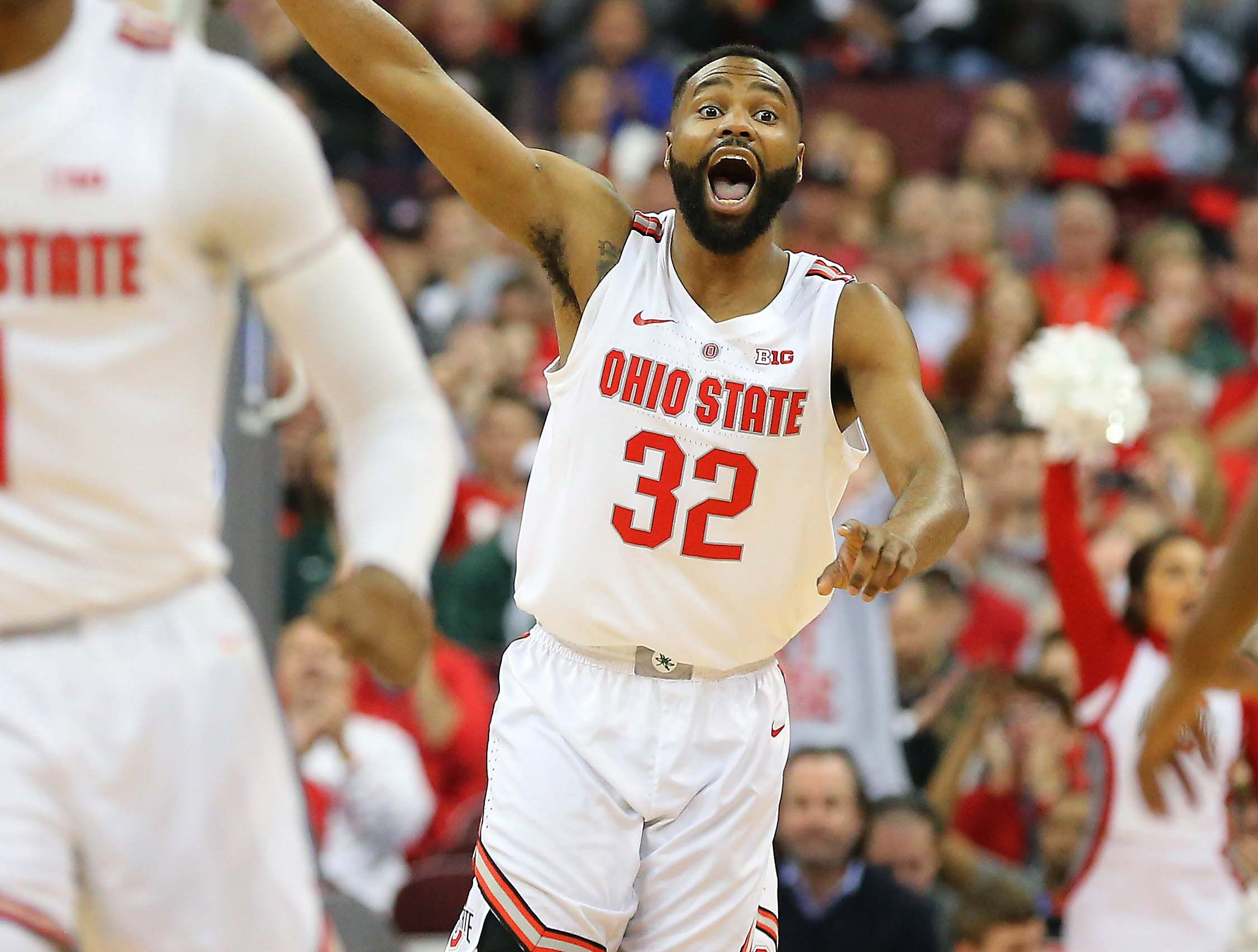 Jan 5, 2019; Columbus, OH, USA; Ohio State Buckeyes guard Keyshawn Woods (32) celebrates as the Buckeyes take the first half lead against the Michigan State Spartans at Value City Arena. Mandatory Credit: Joe Maiorana-USA TODAY Sports