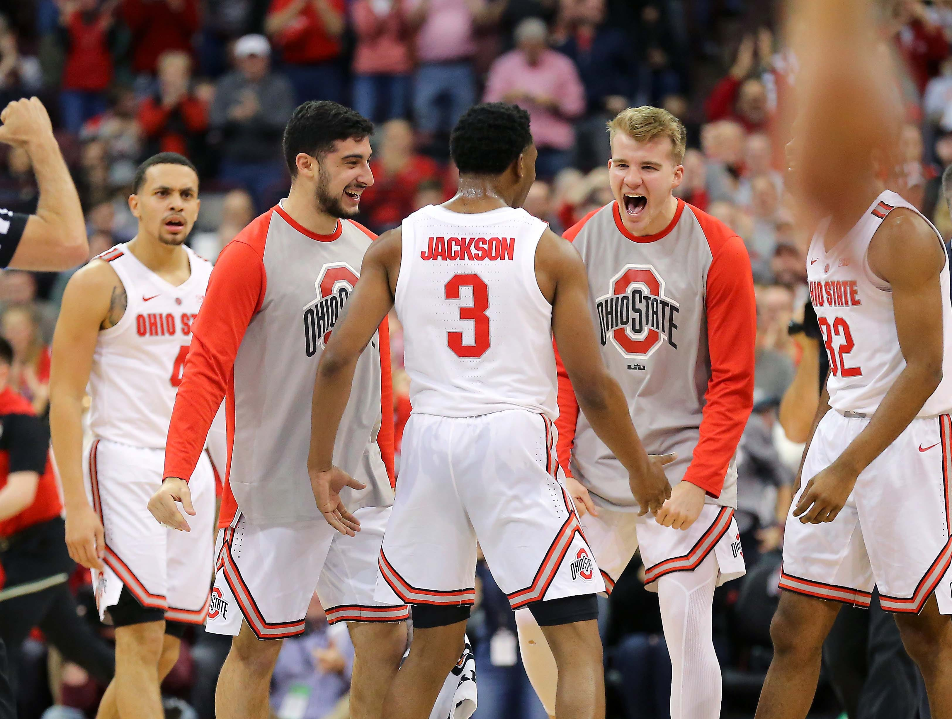 Jan 5, 2019; Columbus, OH, USA; Ohio State Buckeyes guard C.J. Jackson (3) celebrates as the Buckeyes take the first half lead against the Michigan State Spartans at Value City Arena. Mandatory Credit: Joe Maiorana-USA TODAY Sports