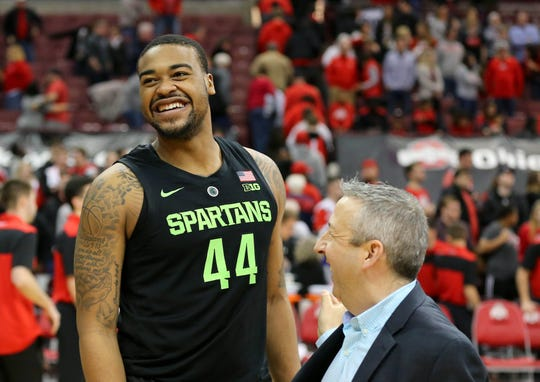 Michigan State's Nick Ward reacts following MSU's 86-77 win Saturday at Ohio State.