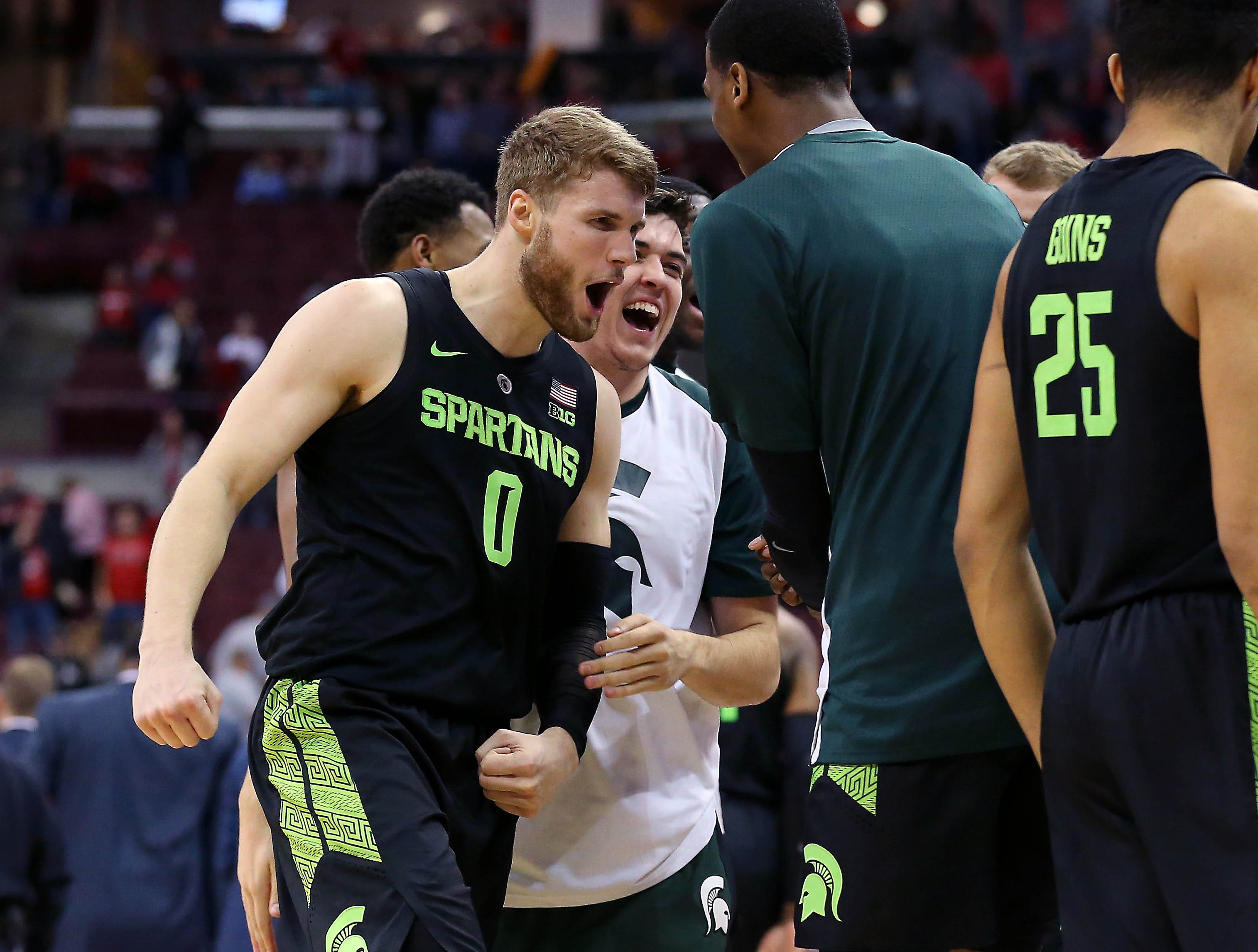 Jan 5, 2019; Columbus, OH, USA; Michigan State Spartans forward Kyle Ahrens (0) reacts during the second half against the Ohio State Buckeyes at Value City Arena. Mandatory Credit: Joe Maiorana-USA TODAY Sports