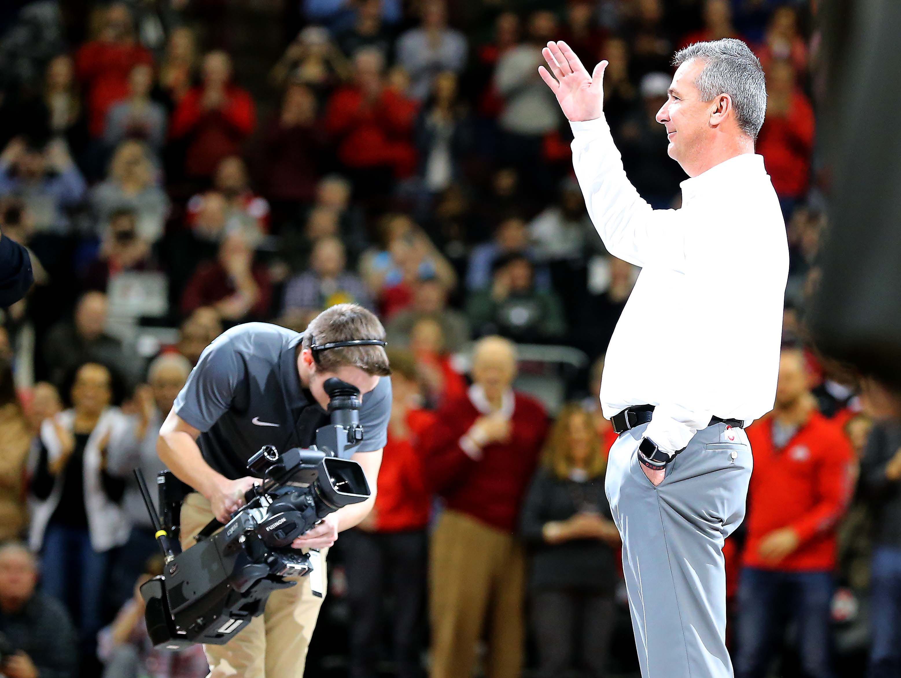 Jan 5, 2019; Columbus, OH, USA; Ohio State Buckeyes former head coach football coach Urban Meyer during the first half against the Michigan State Spartans at Value City Arena. Mandatory Credit: Joe Maiorana-USA TODAY Sports