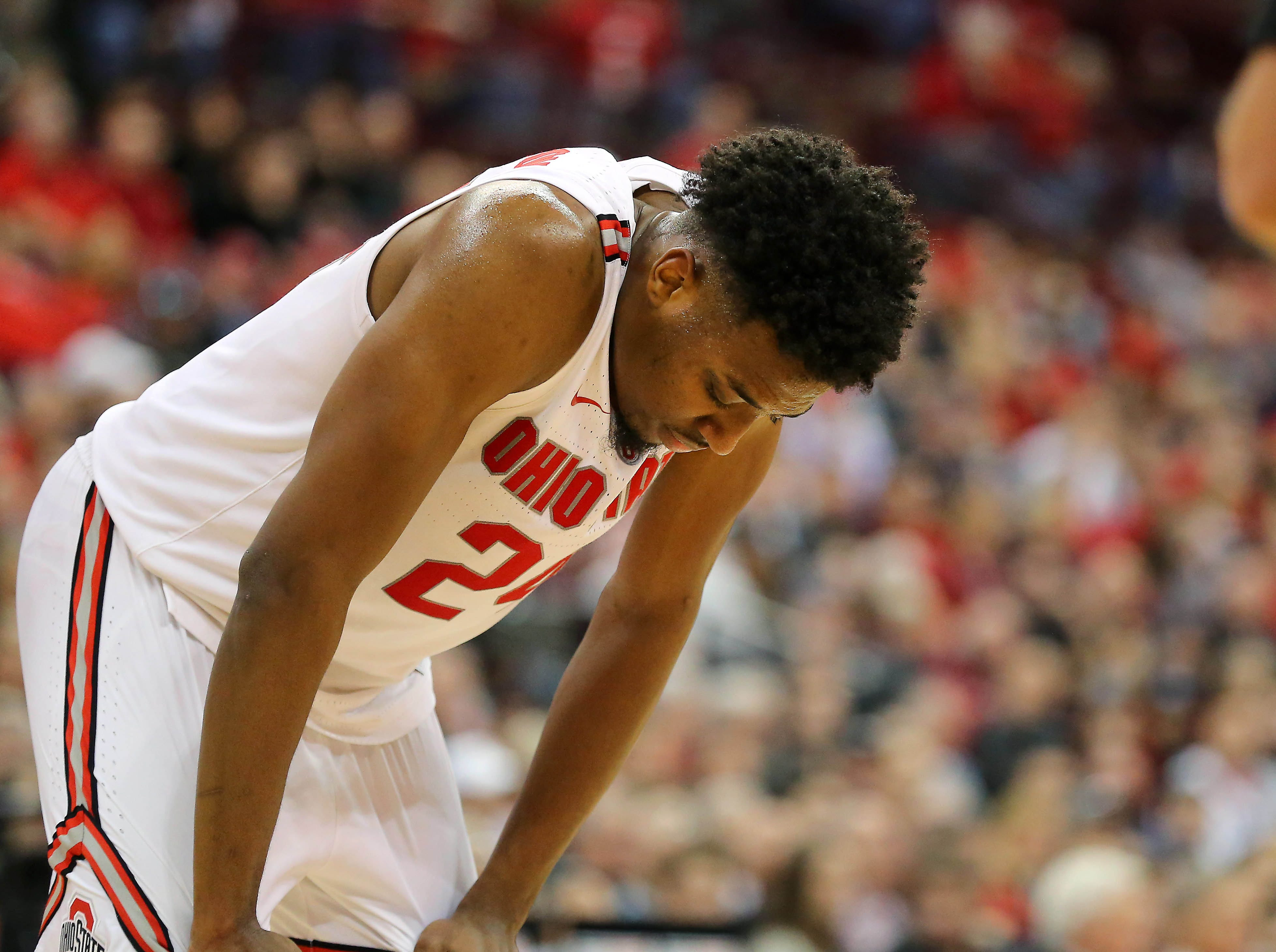 Jan 5, 2019; Columbus, OH, USA; Ohio State Buckeyes forward Andre Wesson (24) reacts after fouling out during the second half against the Michigan State Spartans at Value City Arena. Mandatory Credit: Joe Maiorana-USA TODAY Sports
