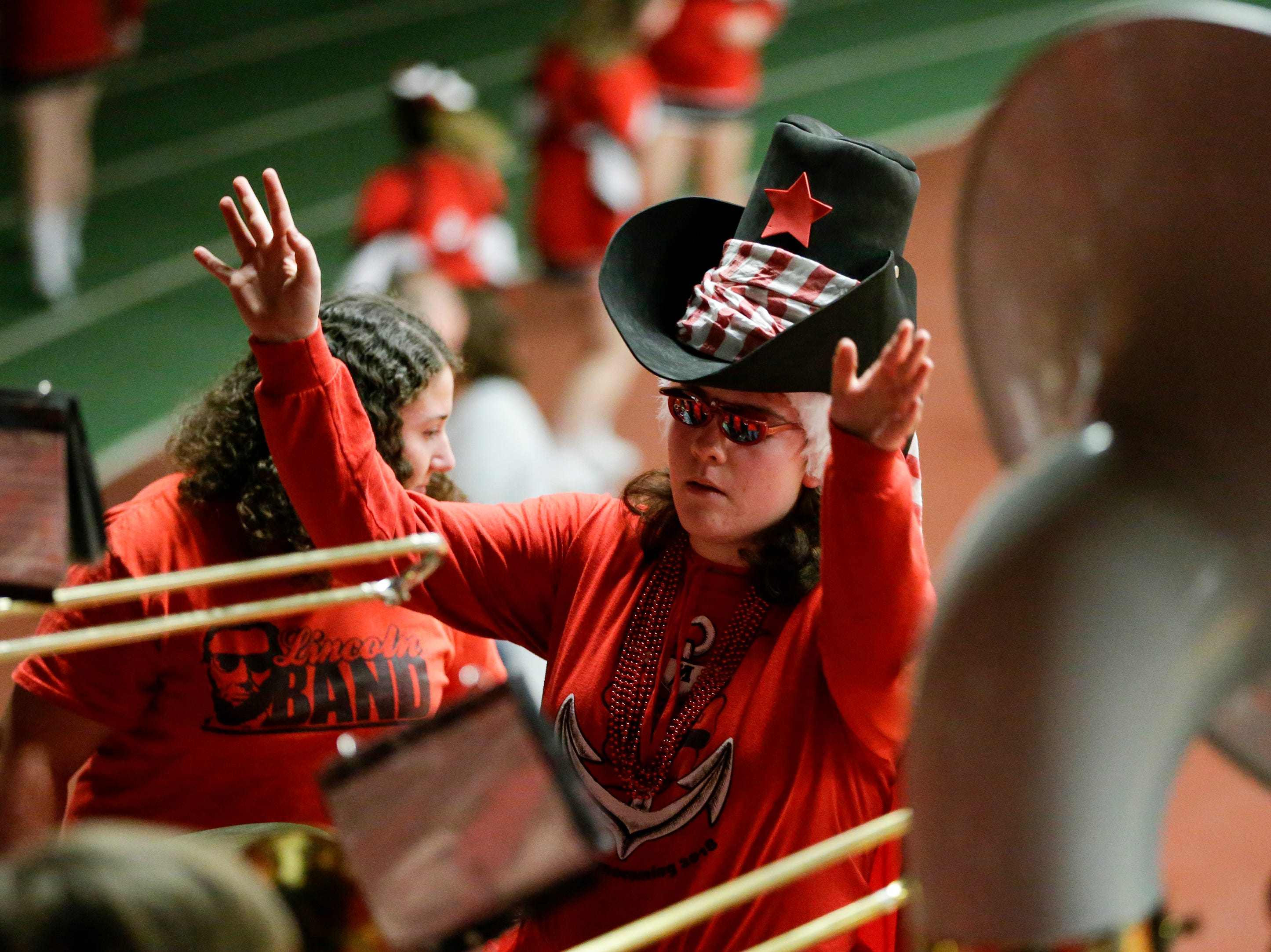 Manitowoc Lincoln's band leader leads the band before a girls basketball FRCC matchup against Sheboygan South at Manitowoc Lincoln High School Friday, January 4, 2019, in Manitowoc, Wis. Joshua Clark/USA TODAY NETWORK-Wisconsin