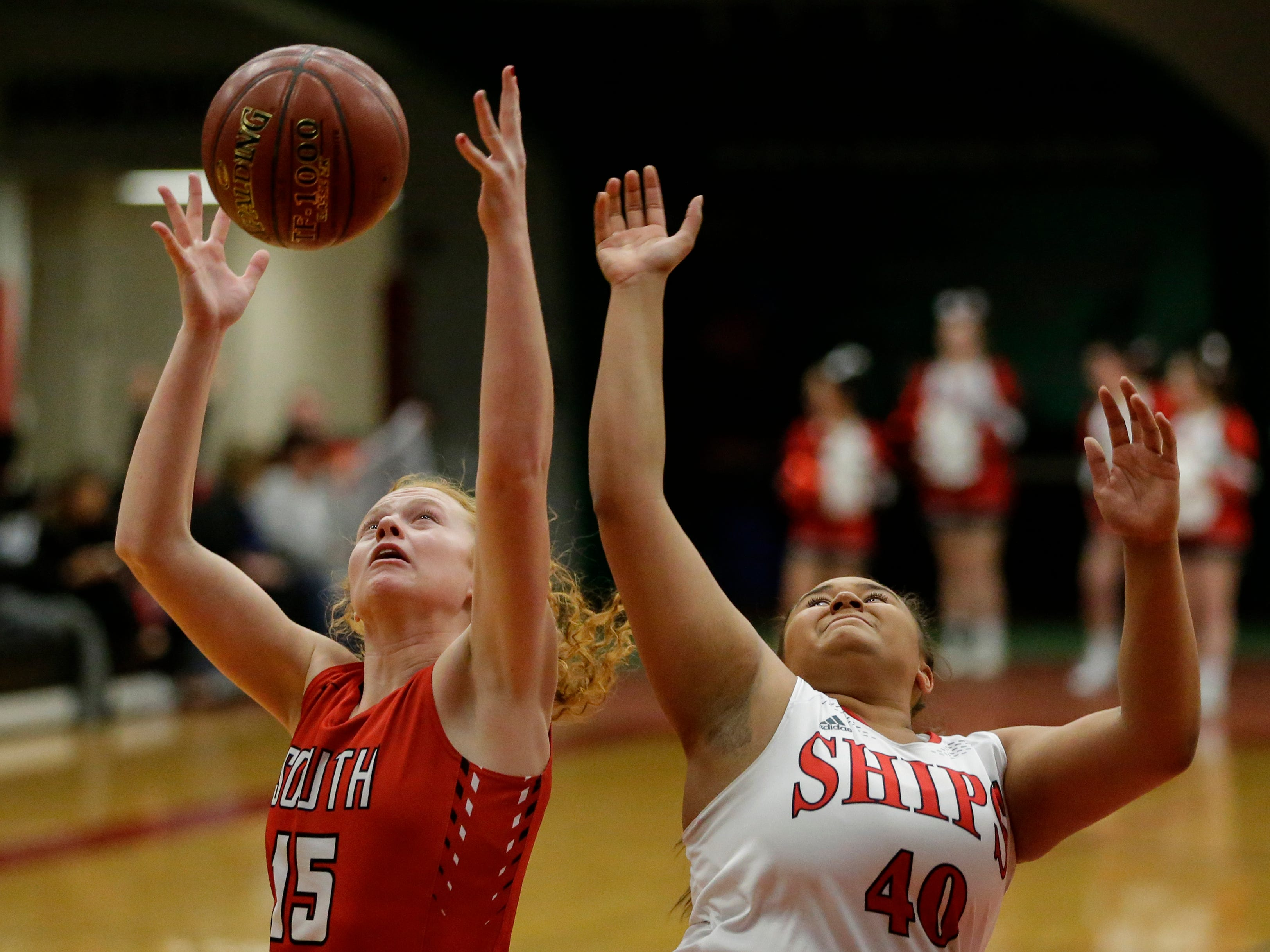 Sheboygan South's Lindsey Horen rebounds over Manitowoc Lincoln's Massendra Musial during an FRCC matchup at Manitowoc Lincoln High School Friday, January 4, 2019, in Manitowoc, Wis. Joshua Clark/USA TODAY NETWORK-Wisconsin