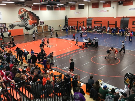 A view from the balcony at the 57th J.C. Gorman Invitational in Mansfield Senior's Pete Henry Gym.