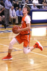 Lucas' Carson Hauger makes a break away shot while playing at St. Peter's earlier in the season.