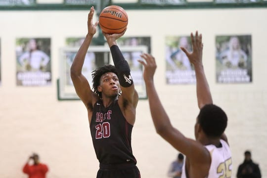 Memphis East's James Wiseman shoots the ball over Holy Spirit's Ahmir Langlais during the Memphis Hoopfest at Briarcrest Christian School on Friday, Jan. 4, 2019.