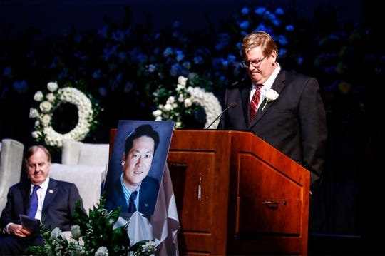 Mike McAnnally speaks during a memorial service for Wei Chen, a Memphis CEO who died along with three other people in a plane crash in Georgia. McAnnally now heads Chen's company Sunshine Enterprise Inc. and is the only surviving executive.