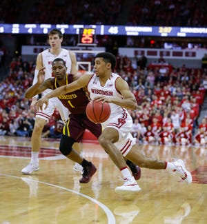 Wisconsin's D'Mitrik Trice struggled on both ends of the court in losses to Western Kentucky and Minnesota.